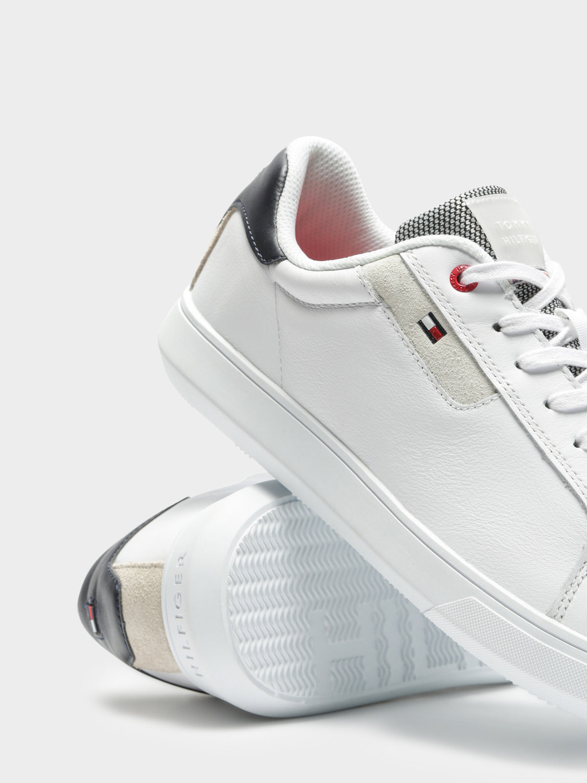 Mens Essential Leather Cupsole Sneakers in White