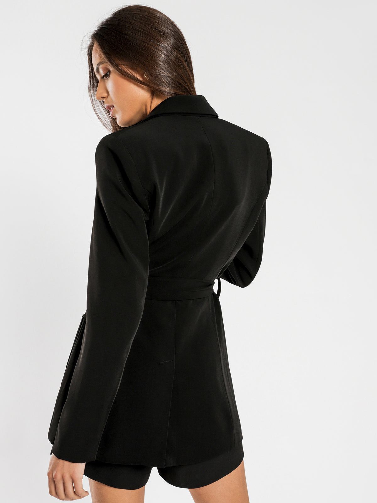 Chance Belted Blazer in Black