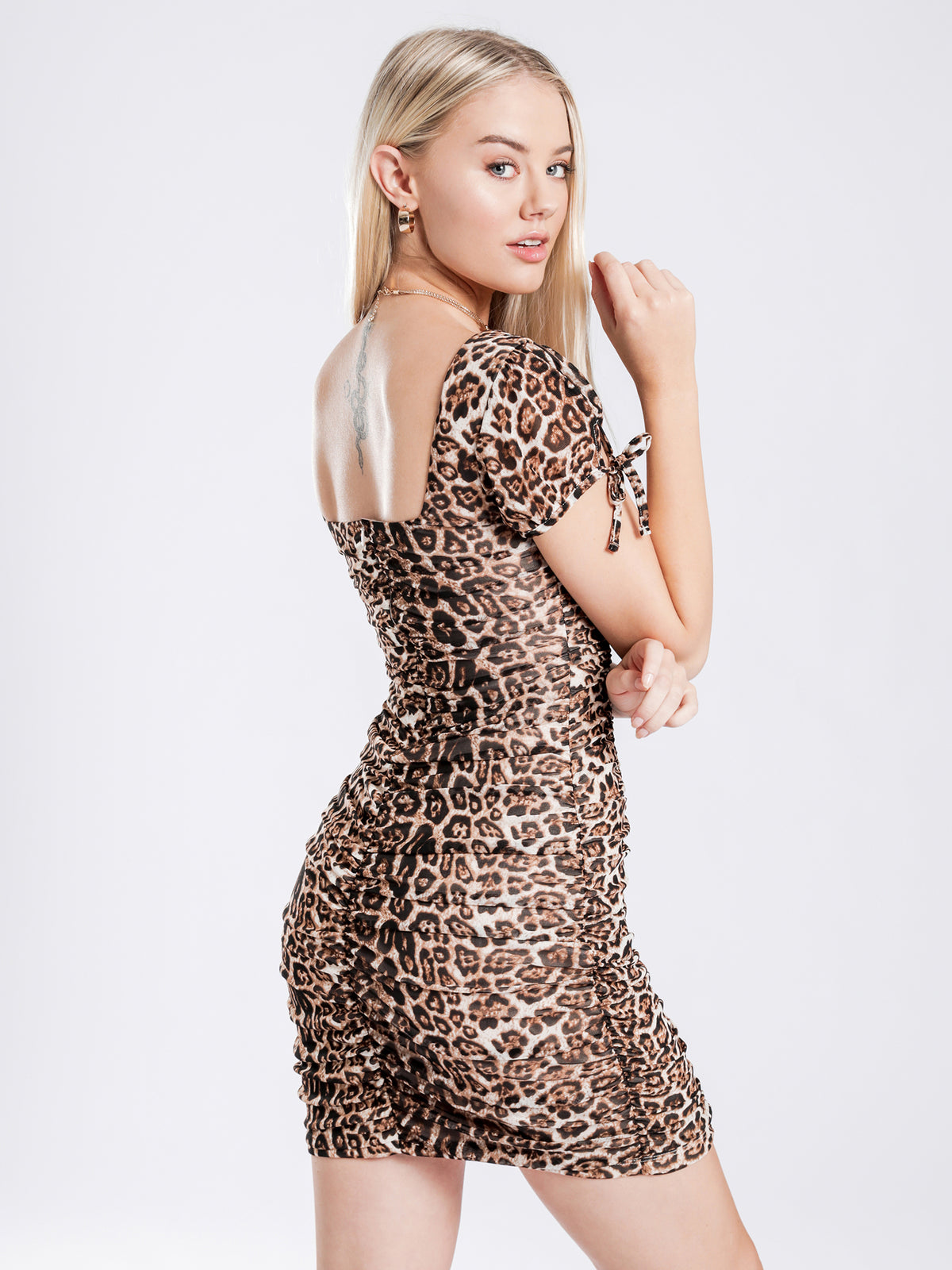 Deanna Gathered Dress in Leopard Print