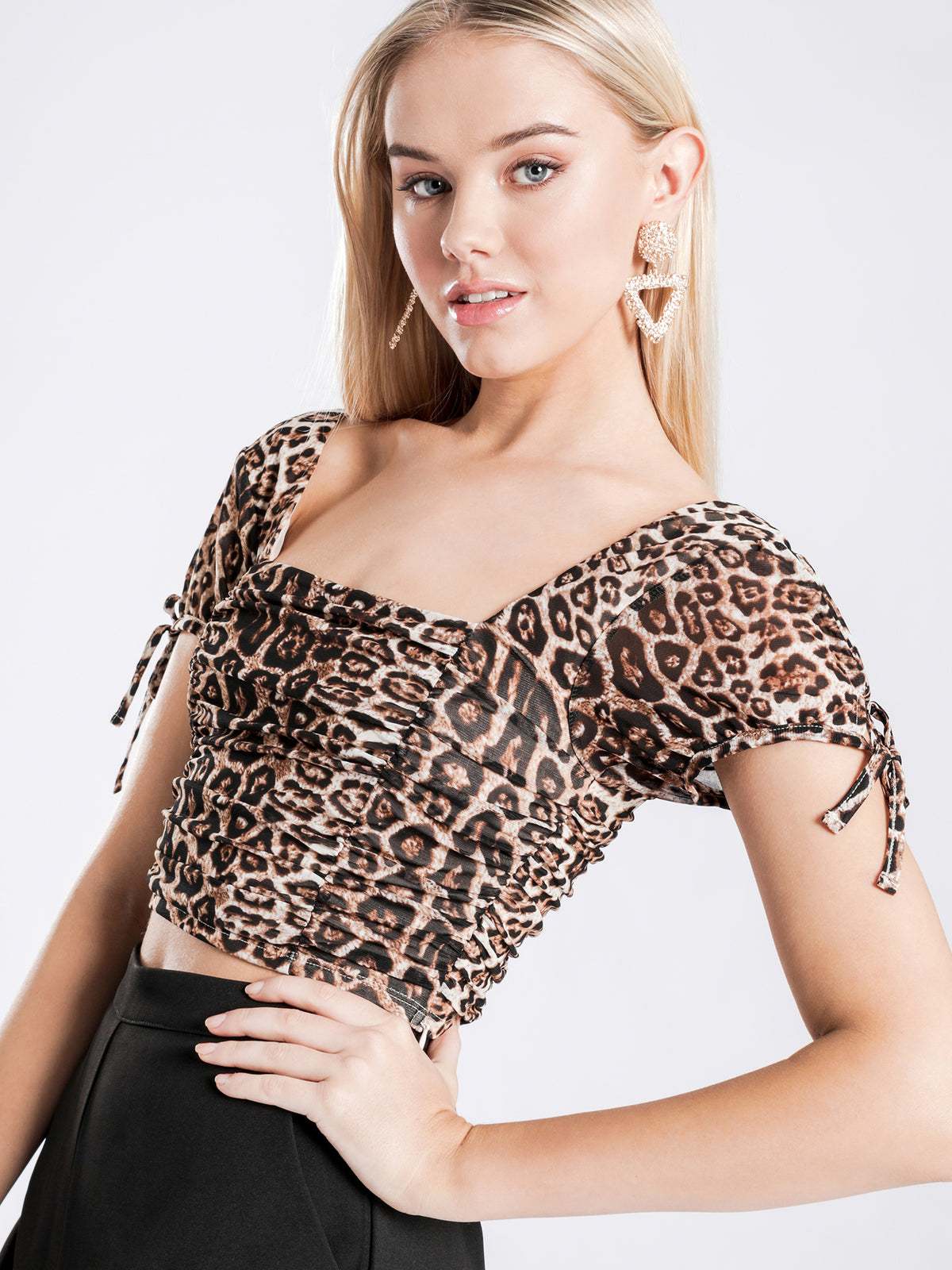 Deanna Gathered Top in Leopard