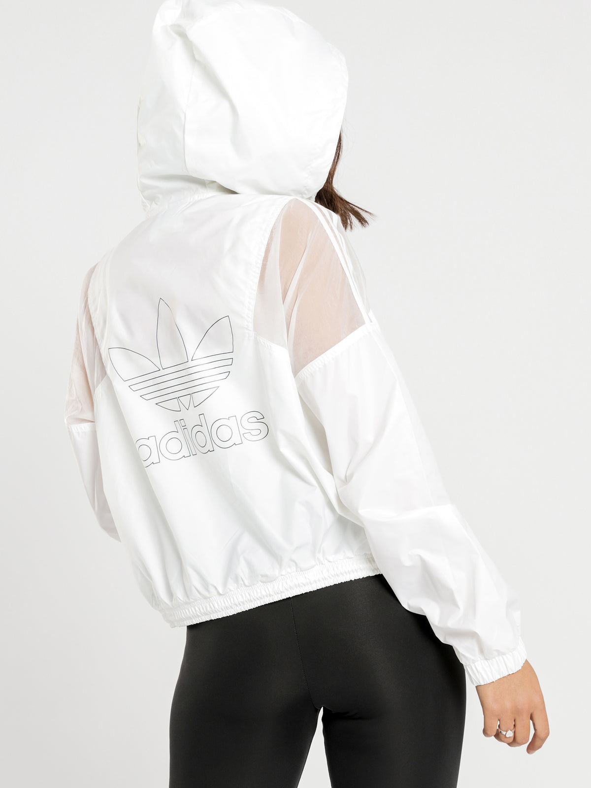 Cropped Windbreaker Jacket in White
