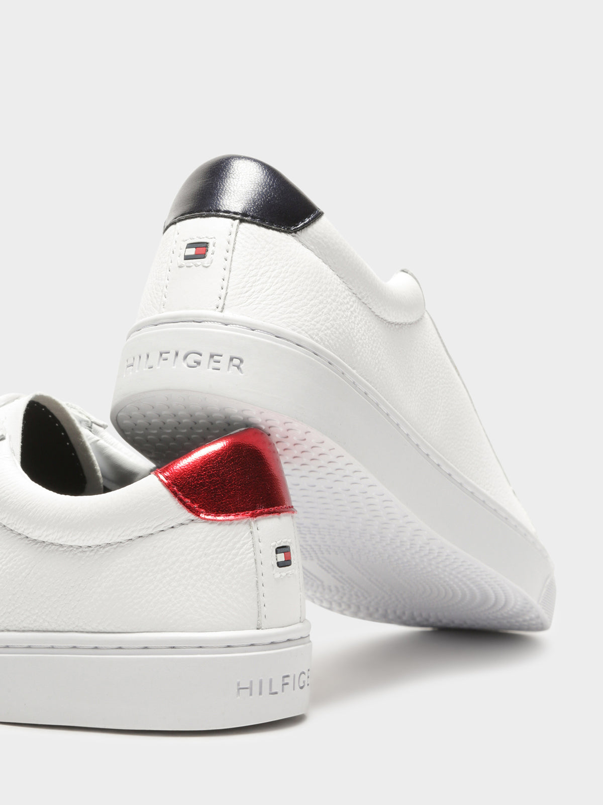 Womens Metallic-Back Essential Sneakers in White Leather