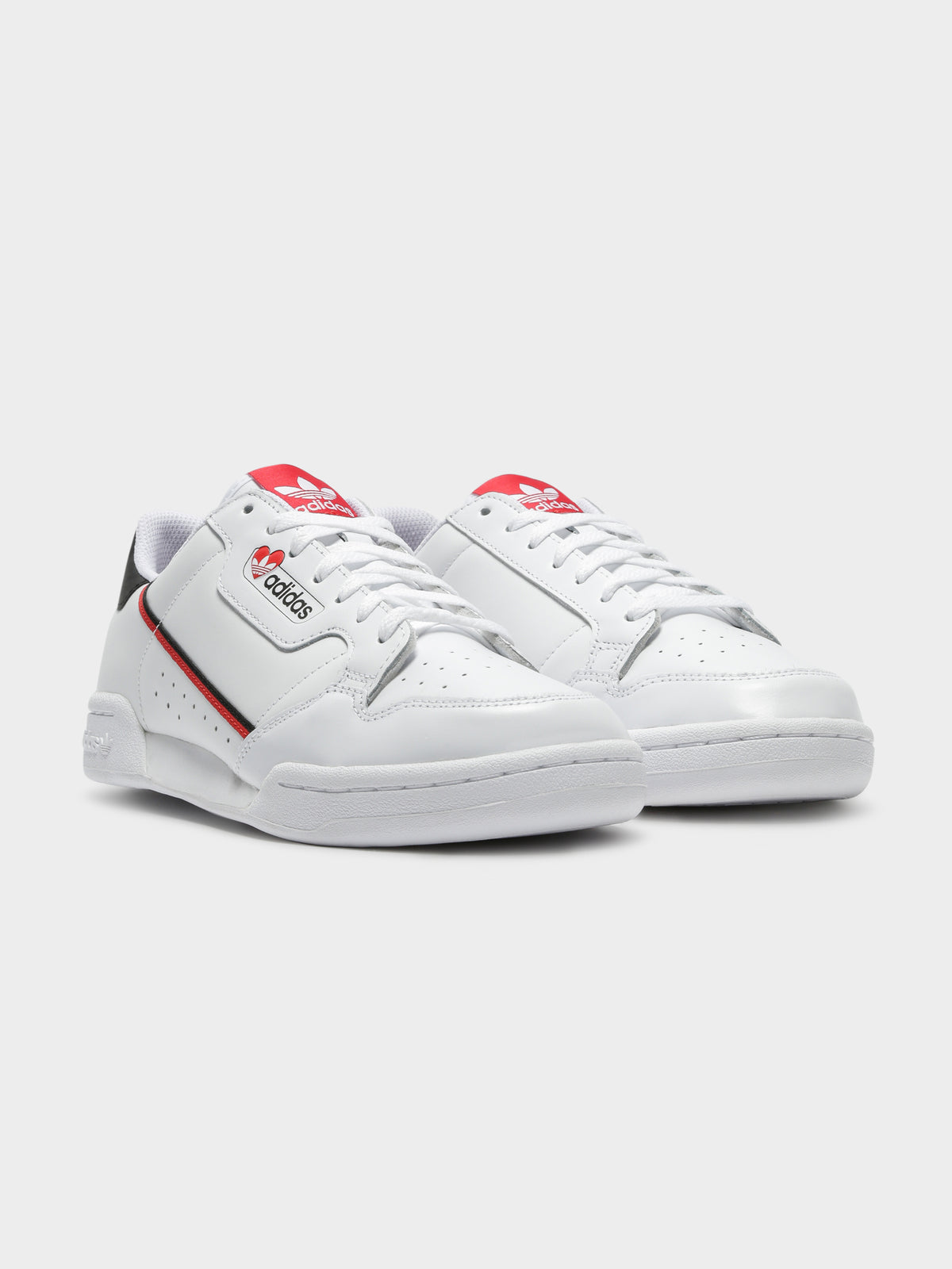 Womens Sleek Heart Sneakers in White & Scarlet
