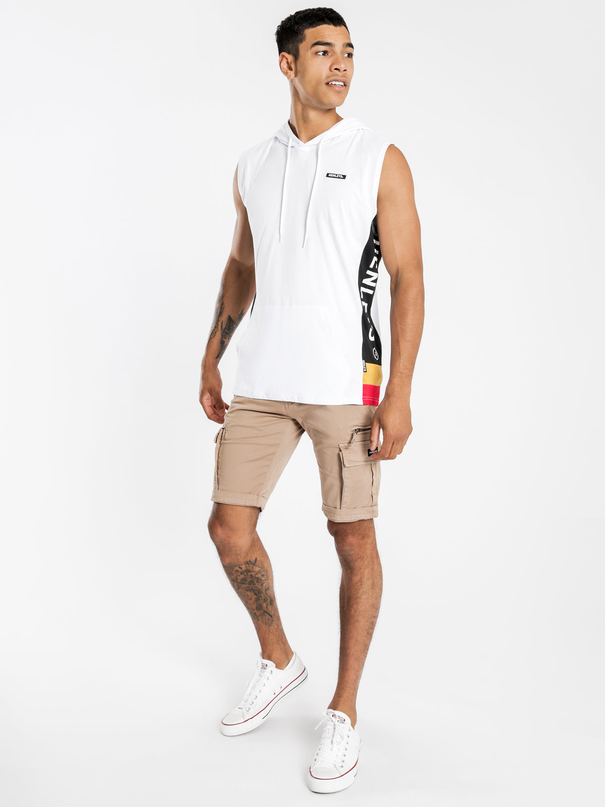 Hooded Muscle T-Shirt in White