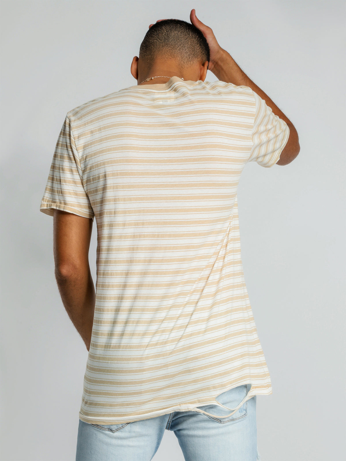 1cm Stripe T-Shirt in Yellow & White
