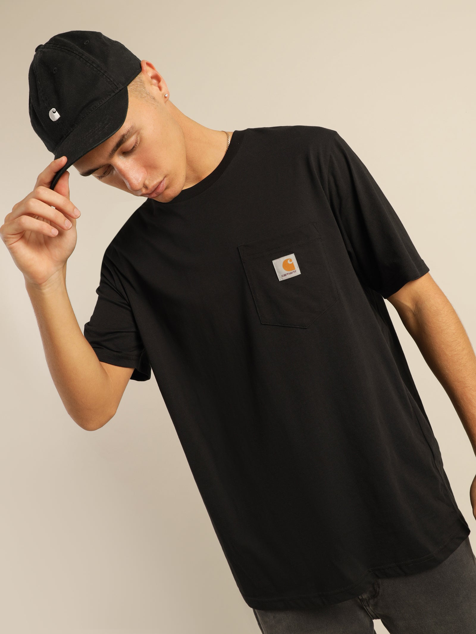 Pocket Short Sleeve T-Shirt in Black