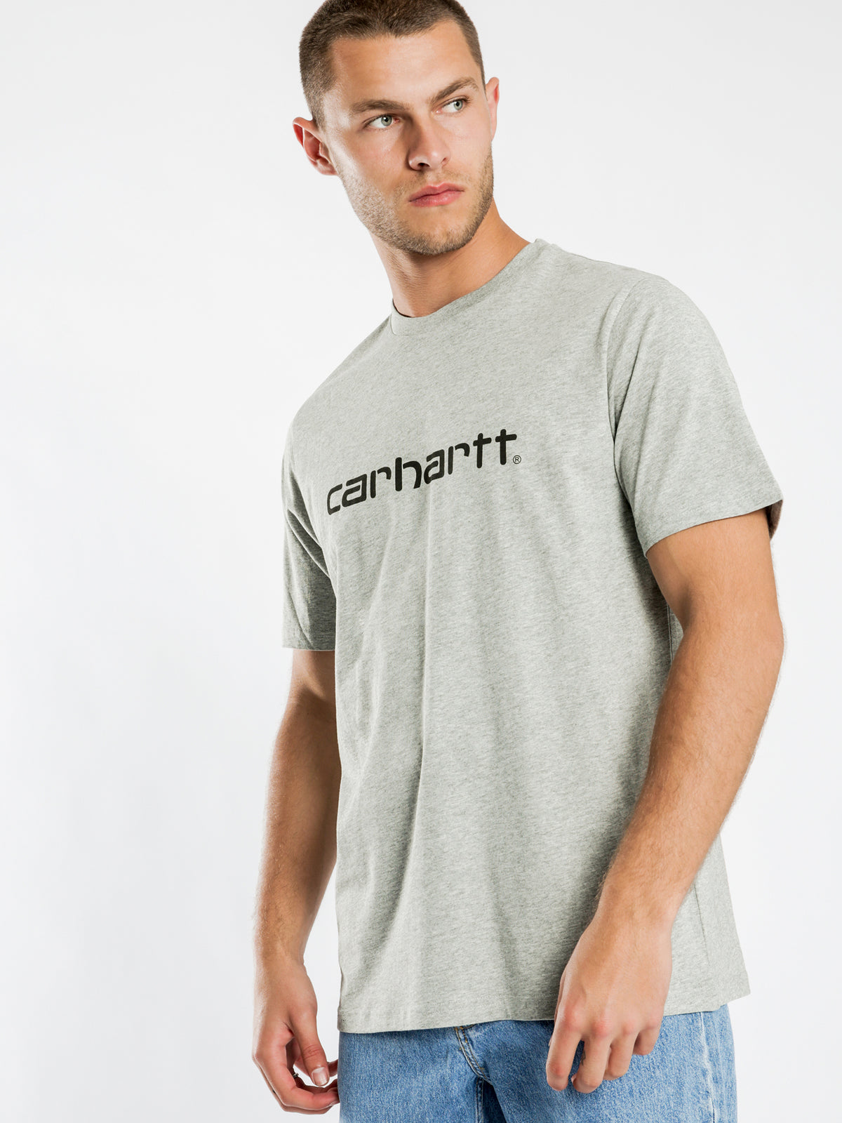 Script T-Shirt in Grey Heather