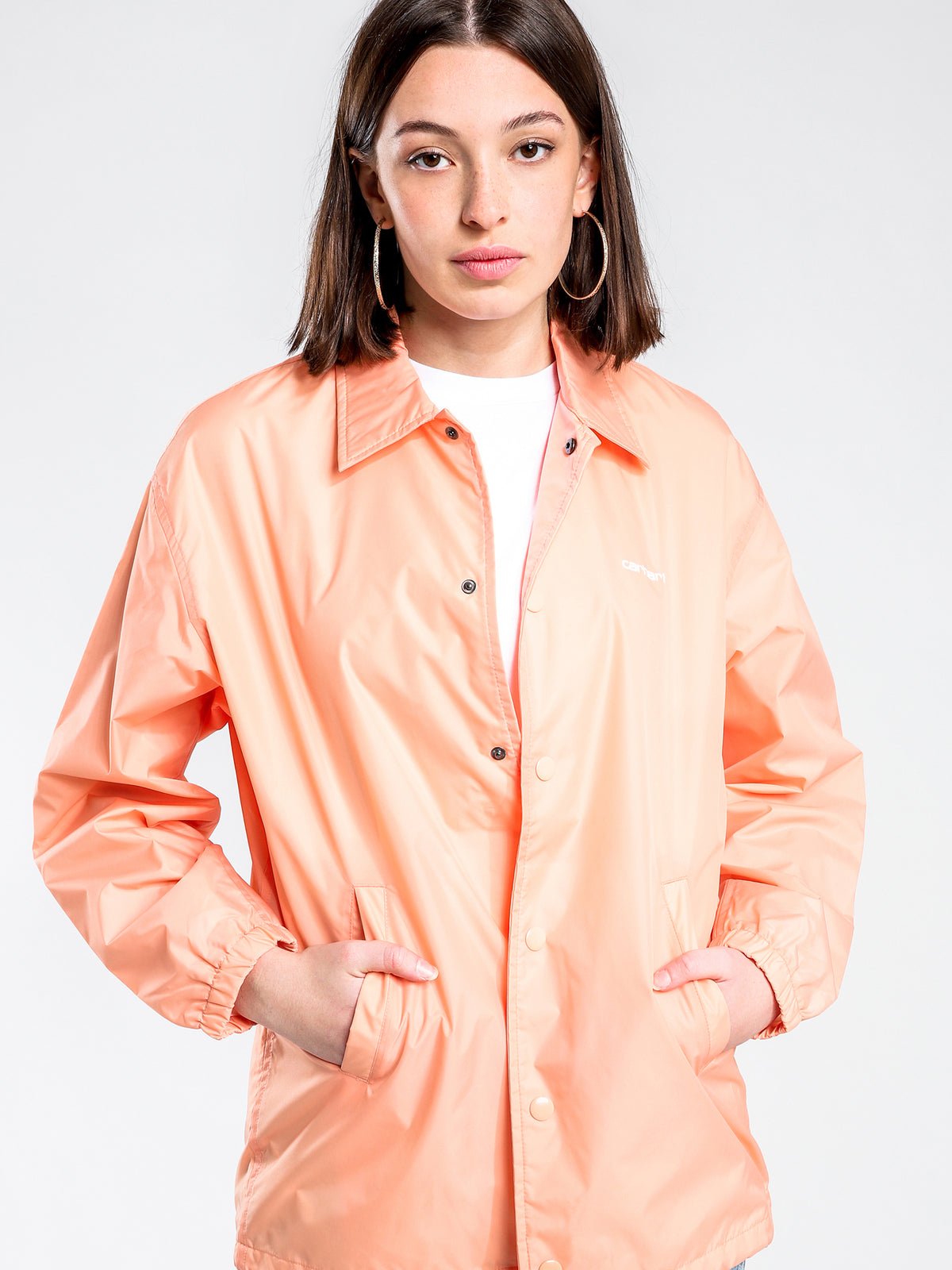 Script Coach Jacket in Peach