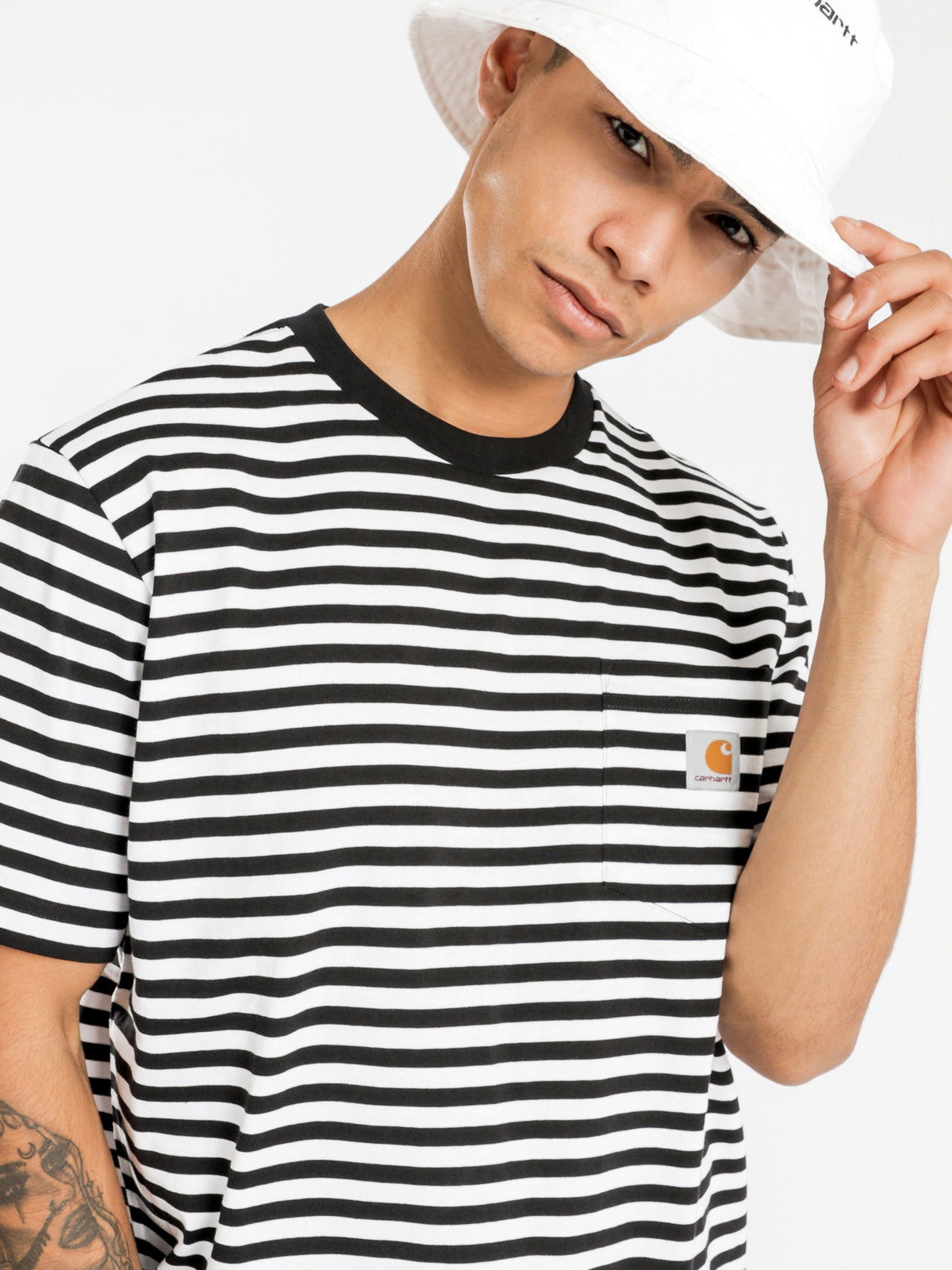 Haldon Pocket Short Sleeve T-Shirt in Black & White Stripe