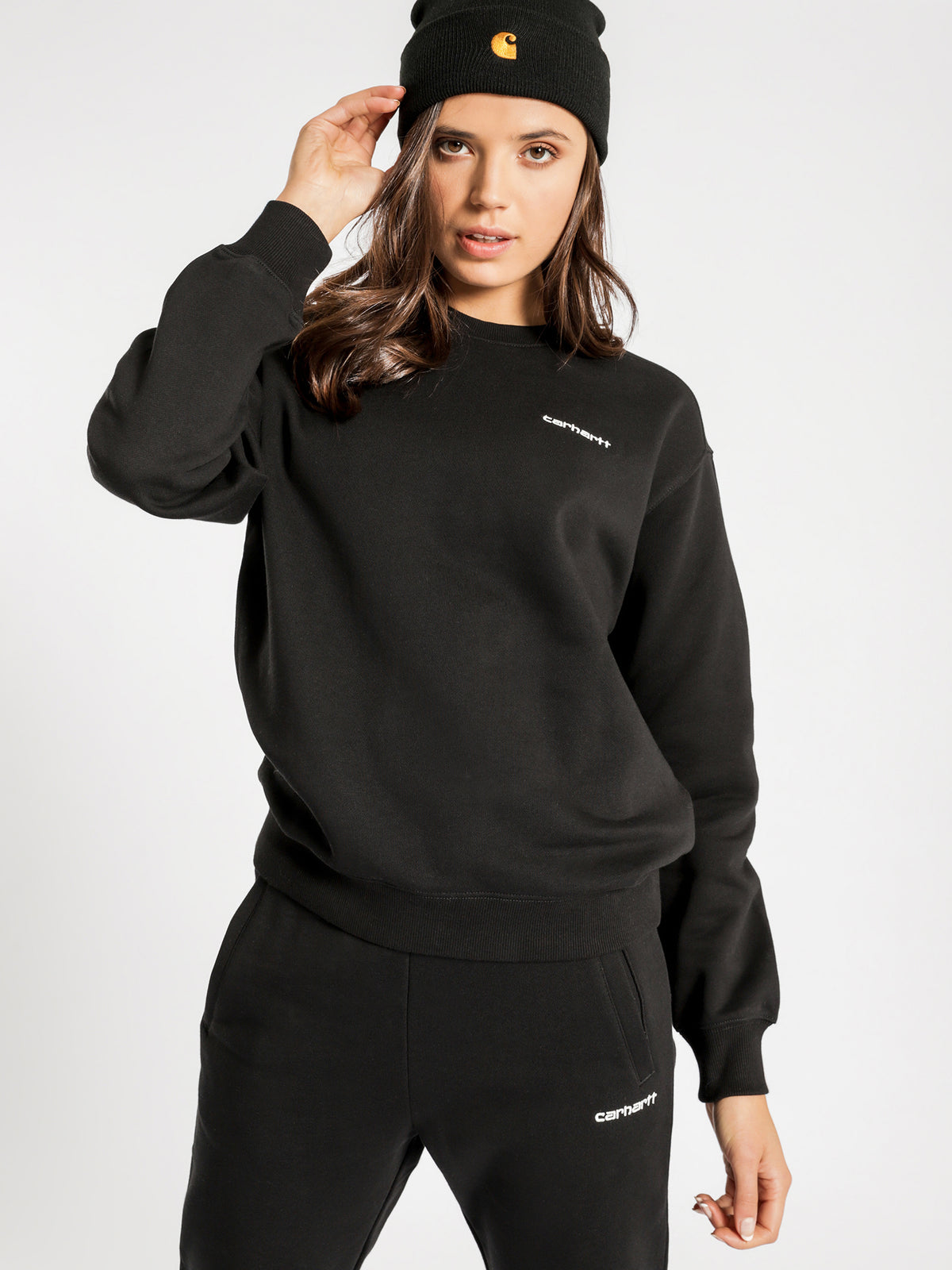 Script Embroidery Sweatshirt in Black & White