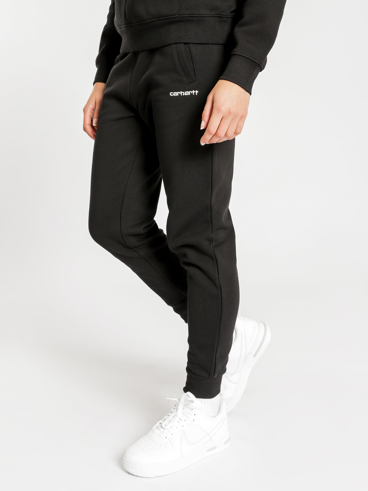 Script Embroidery Sweat Pants in Black & White