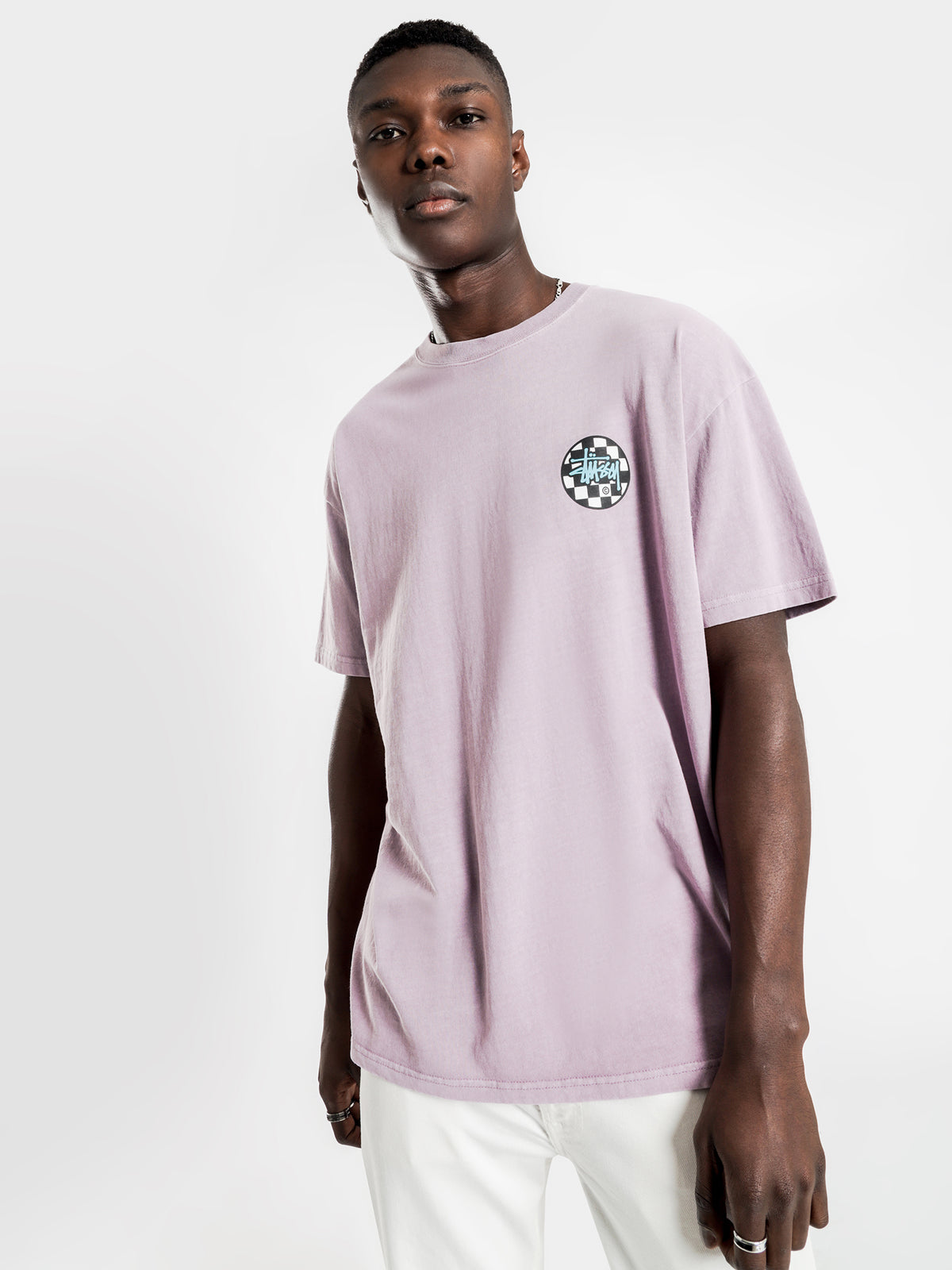 Chequer Dot Short Sleeve T-Shirt in Pigment Mauve