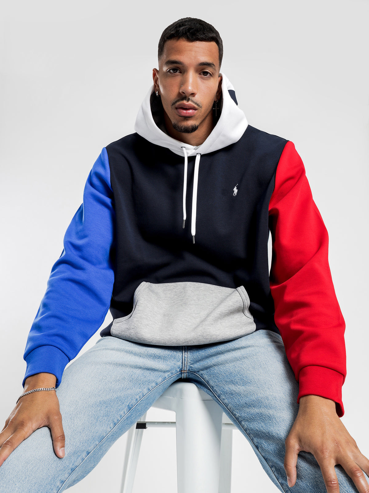 Logo Embroidered Hoodie in Navy