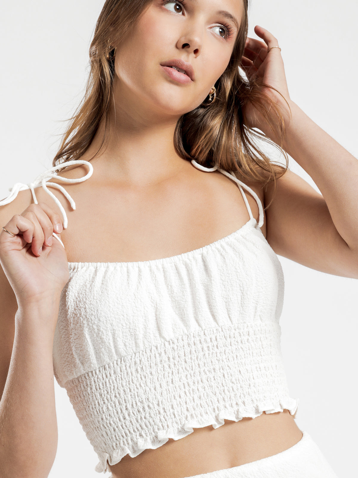 Tia Crinkle Top in White