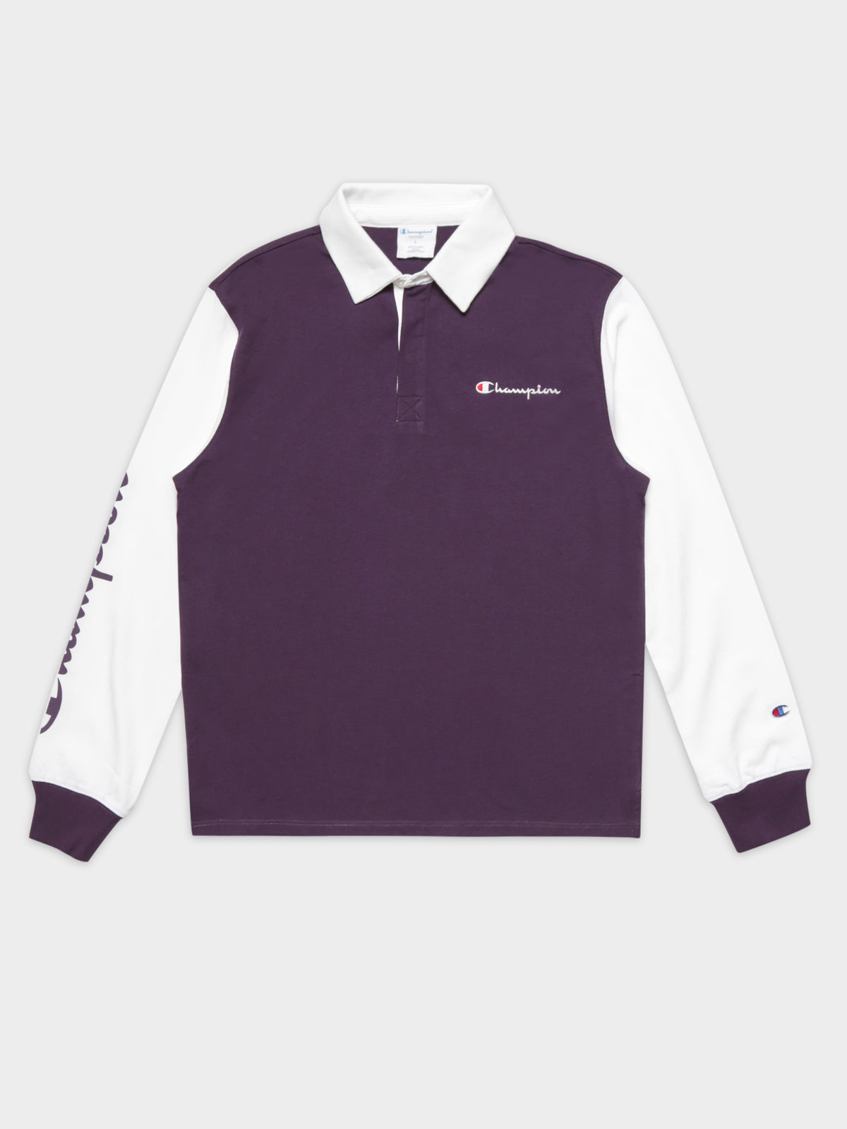 Heritage Collar Long Sleeve Polo in Purple