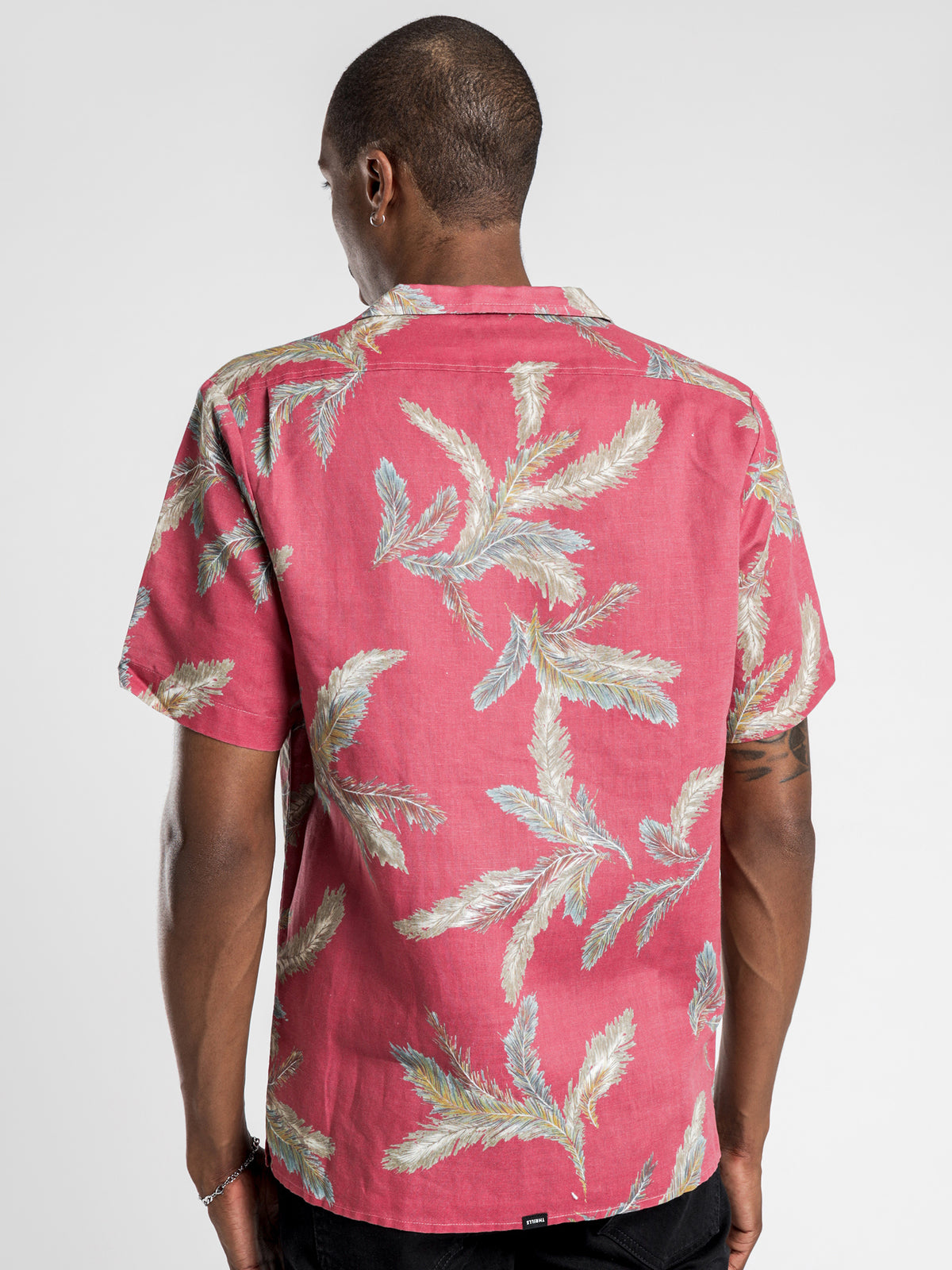 Feathered Bowling Shirt in Red Wine Palm Print