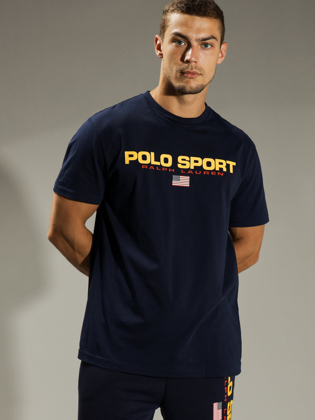 Classic Fit Polo Sports T-Shirt in Navy