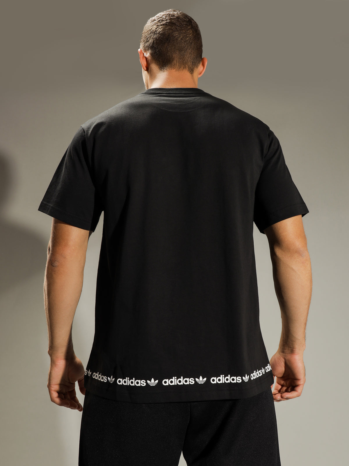 Linear Logo Repeat Short Sleeve T-Shirt in Black