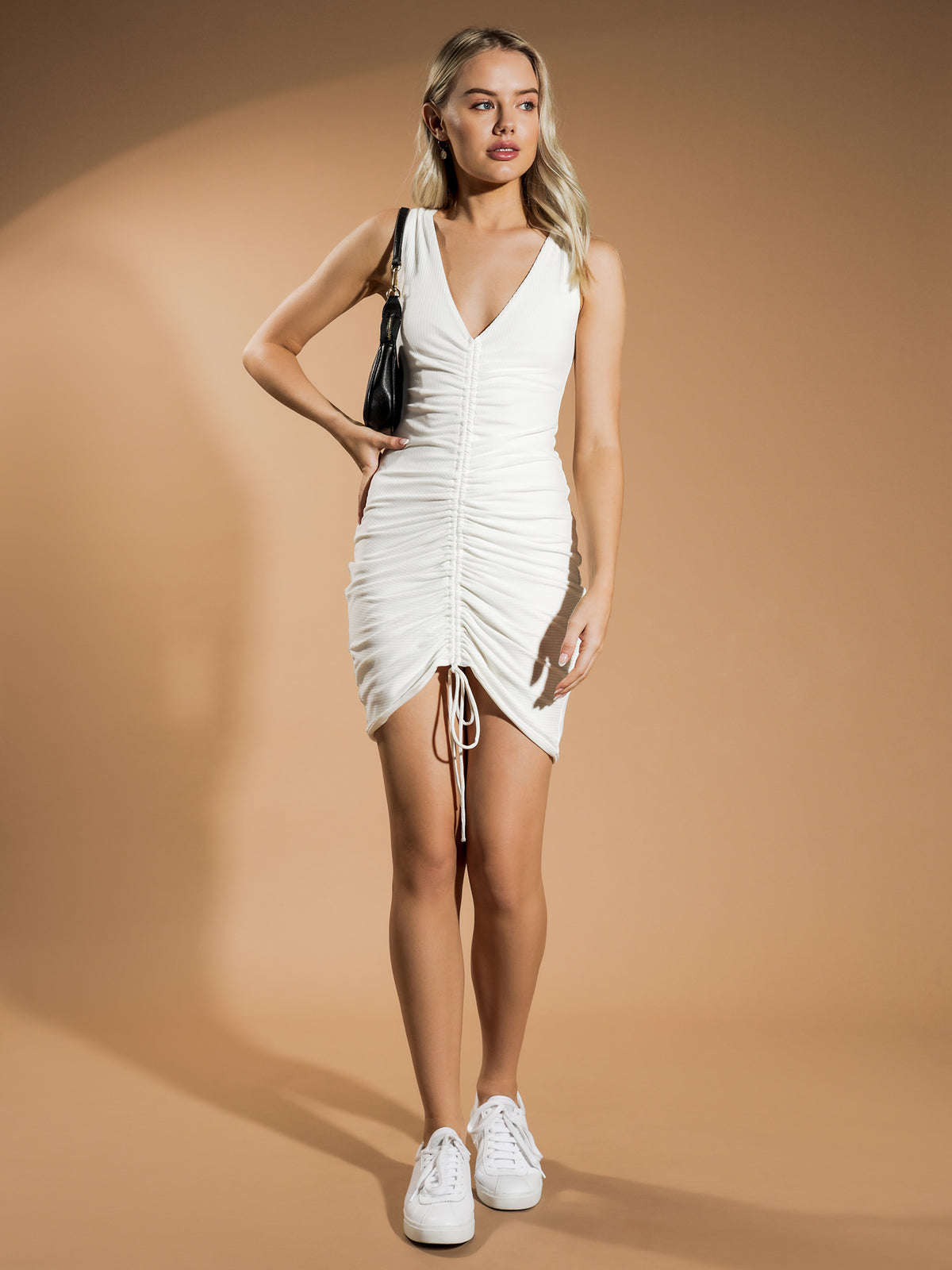 Gia Drawstring Dress in White