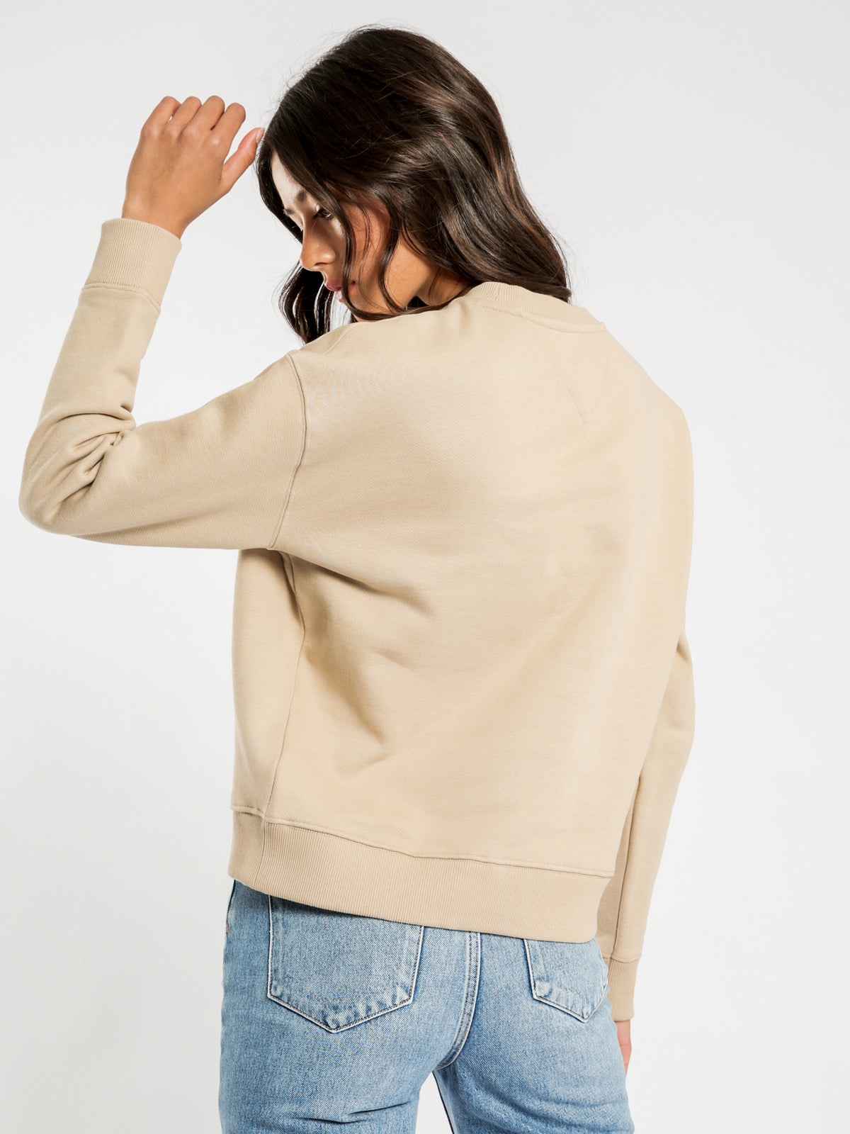 Badge Crew Sweatshirt in Beige