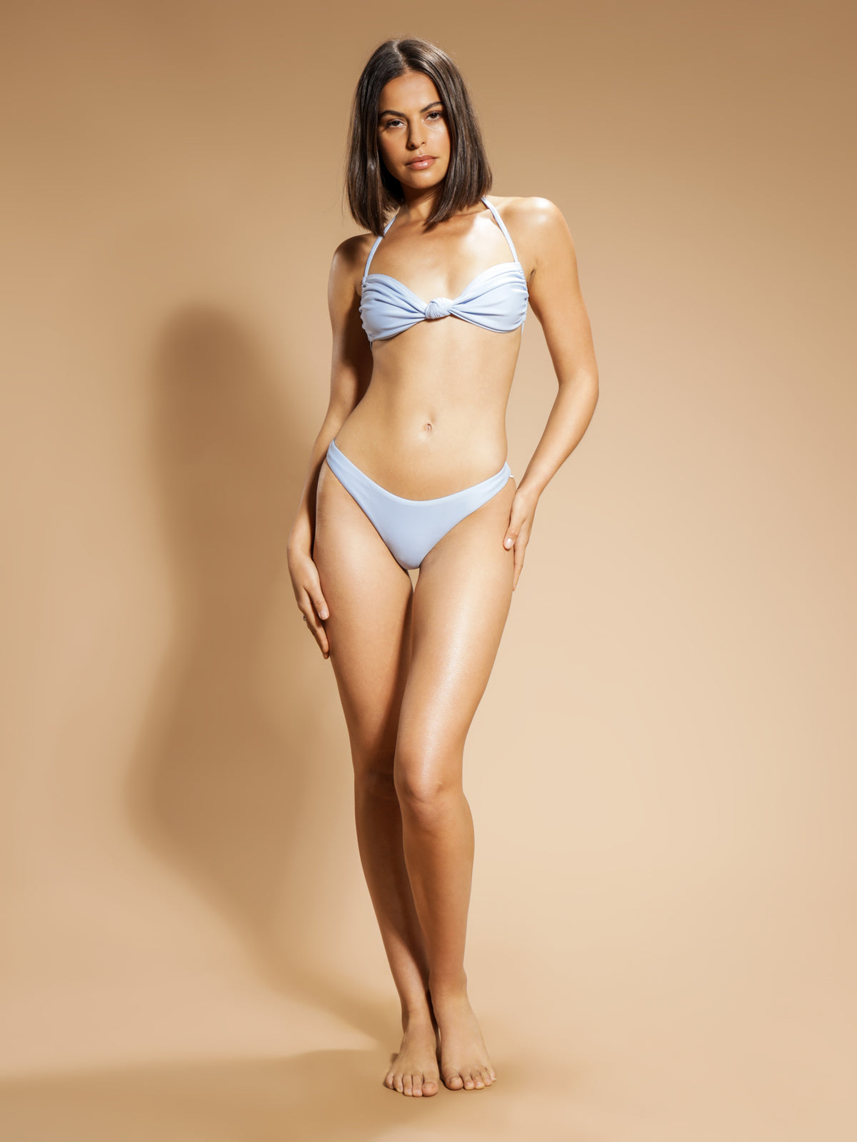 Knot Front Bikini Top in Clear Water Blue
