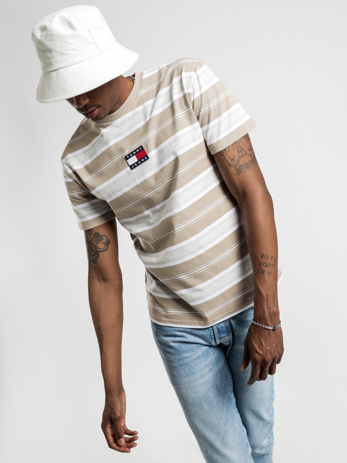 Stripe Logo T-Shirt in Stone