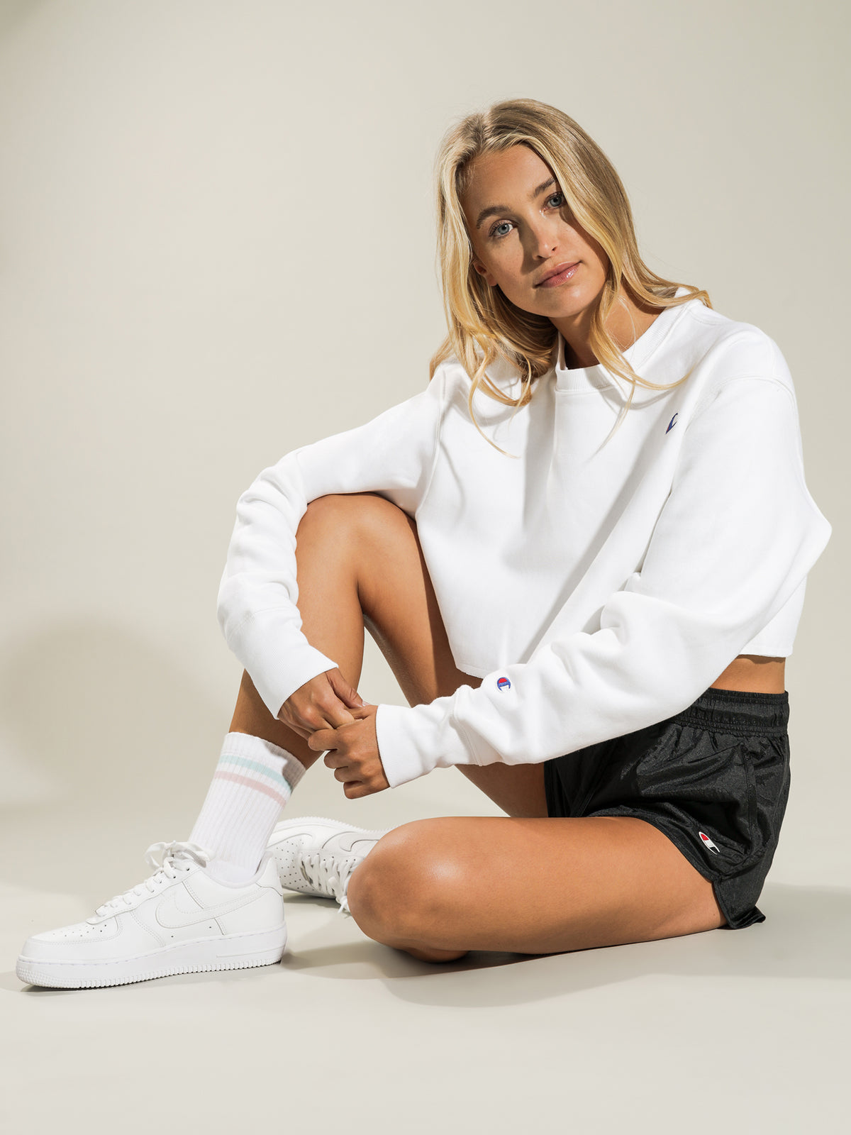 Reverse Weave Cropped Cut Off Crew Sweatshirt in White
