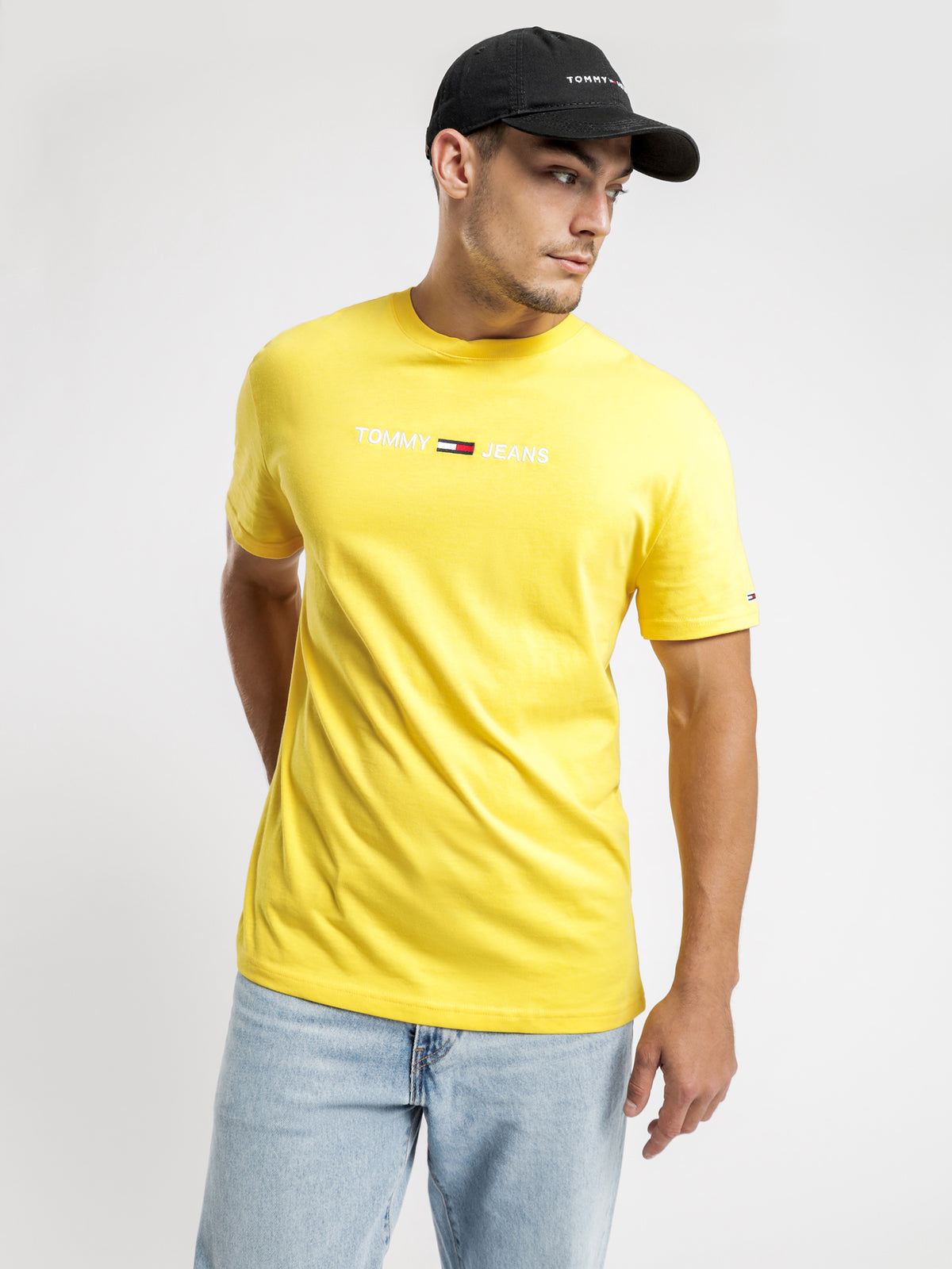 Straight Logo T-Shirt in Star Fruit Yellow