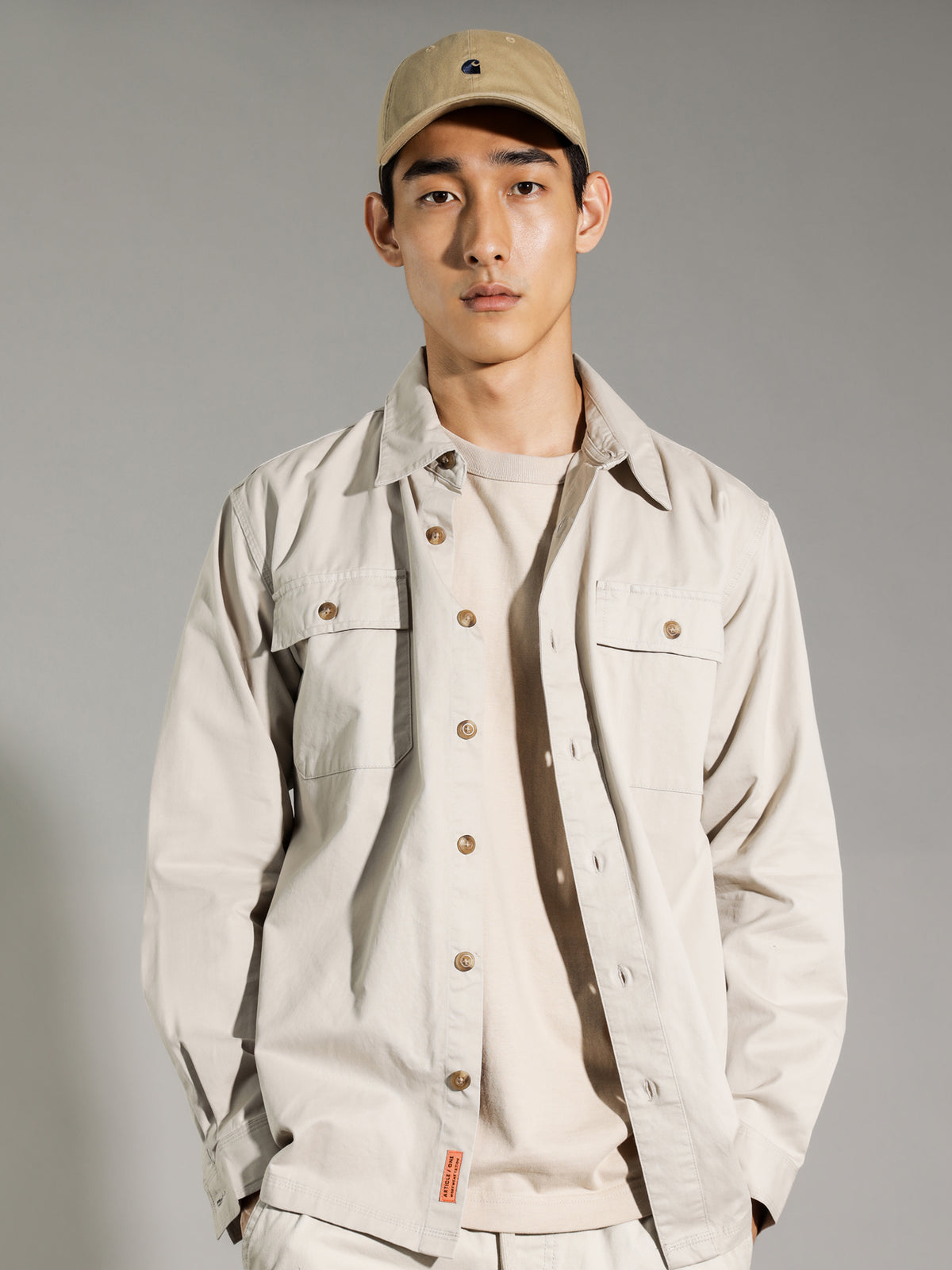 Asher Workwear Long Sleeve Shirt in Stone