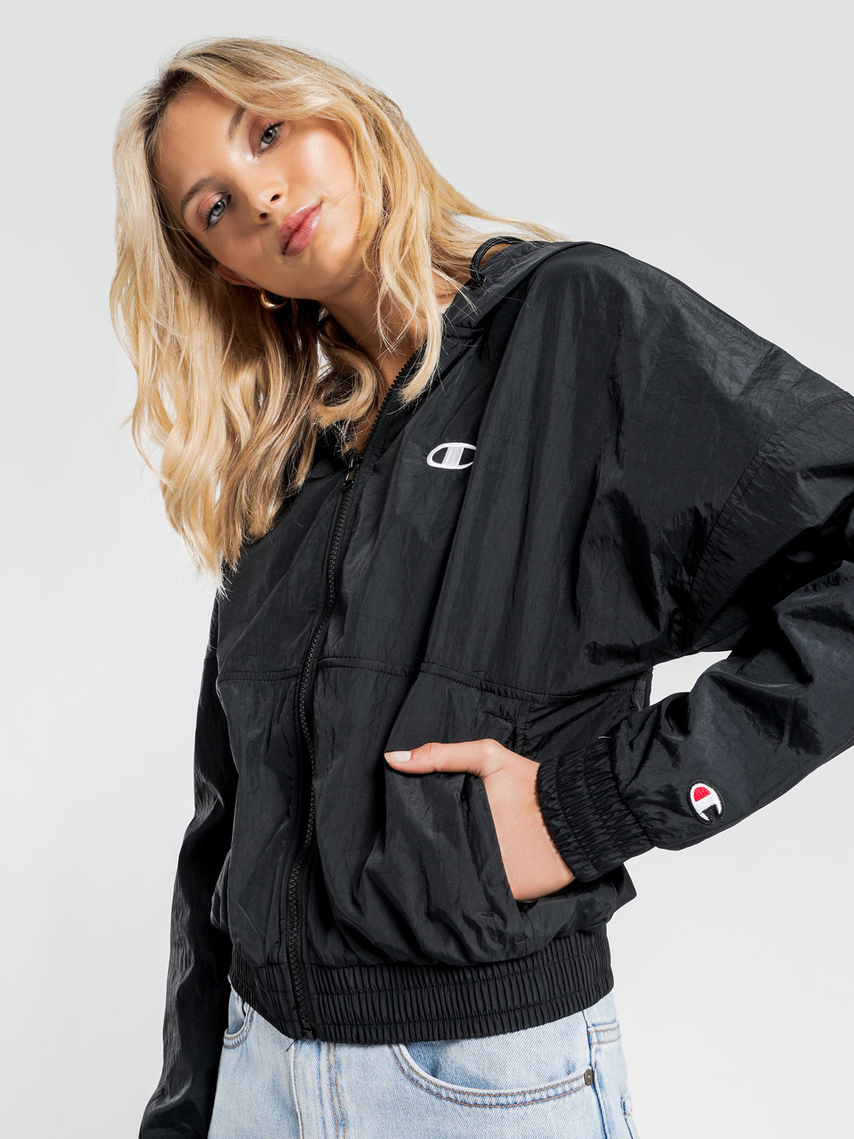 Nylon Crinkle Full Zip Jacket in Black