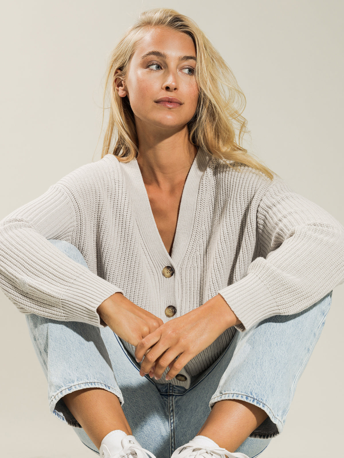 Button Oversized Cardigan in White Sand