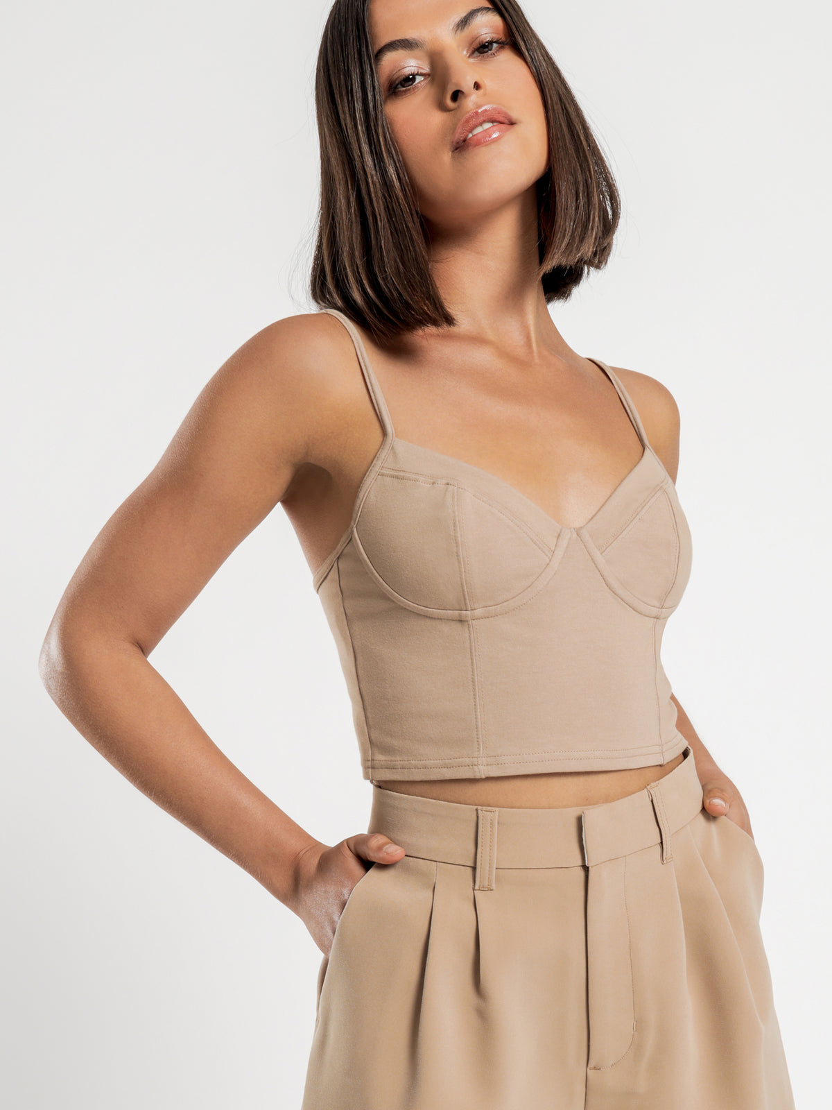 Muse Jersey Bustier Top in Tan