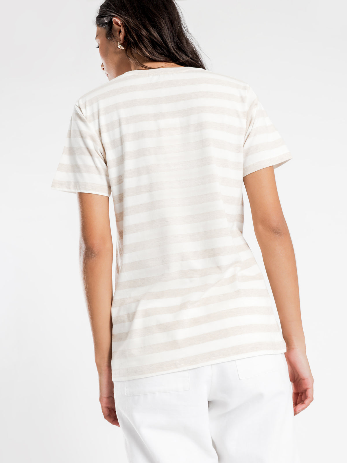 Stripe Slogan T-Shirt in Cream Stripe