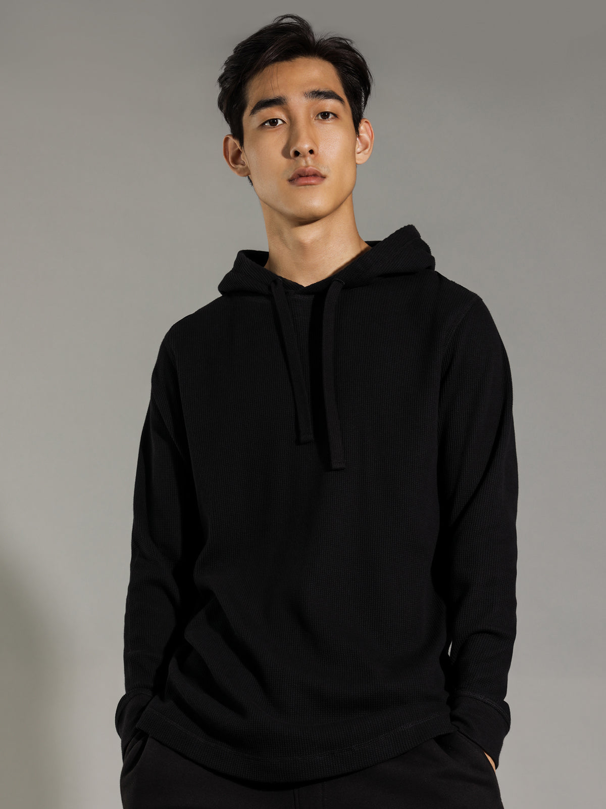 Maison Waffle Hooded Long Sleeve in Black