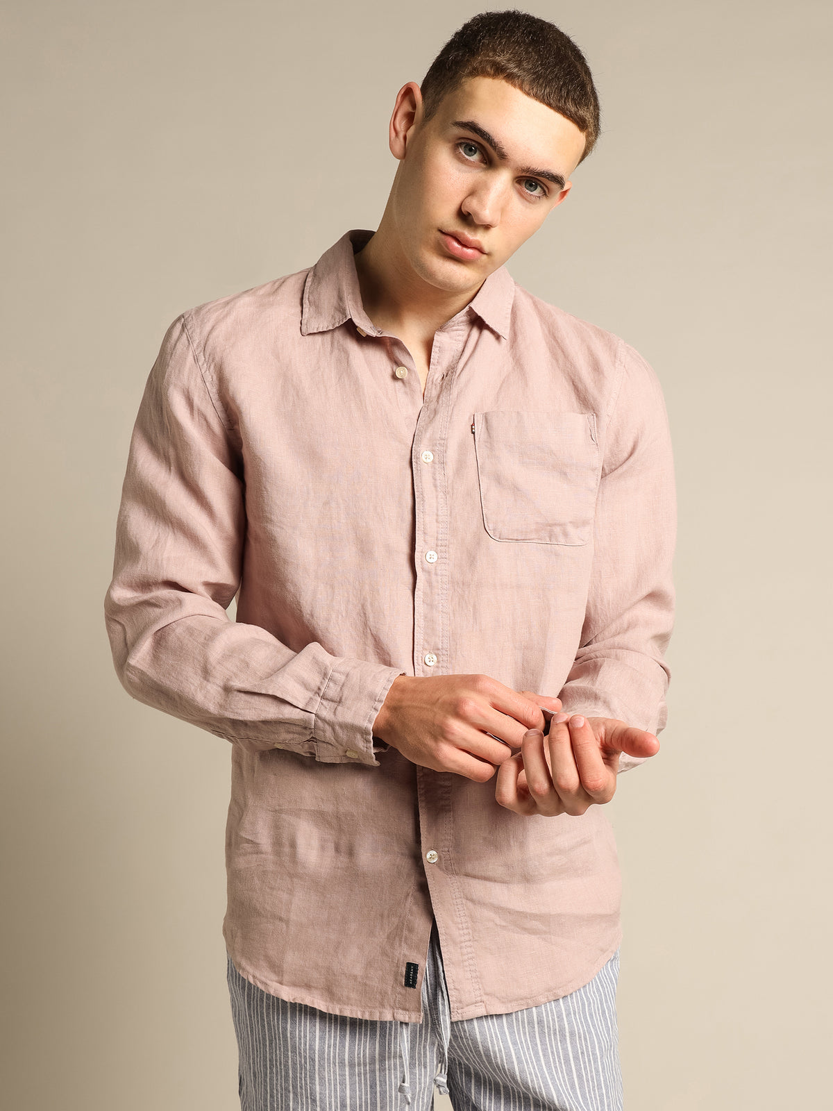 Hampton Linen Long Sleeve T-Shirt in Musk Pink
