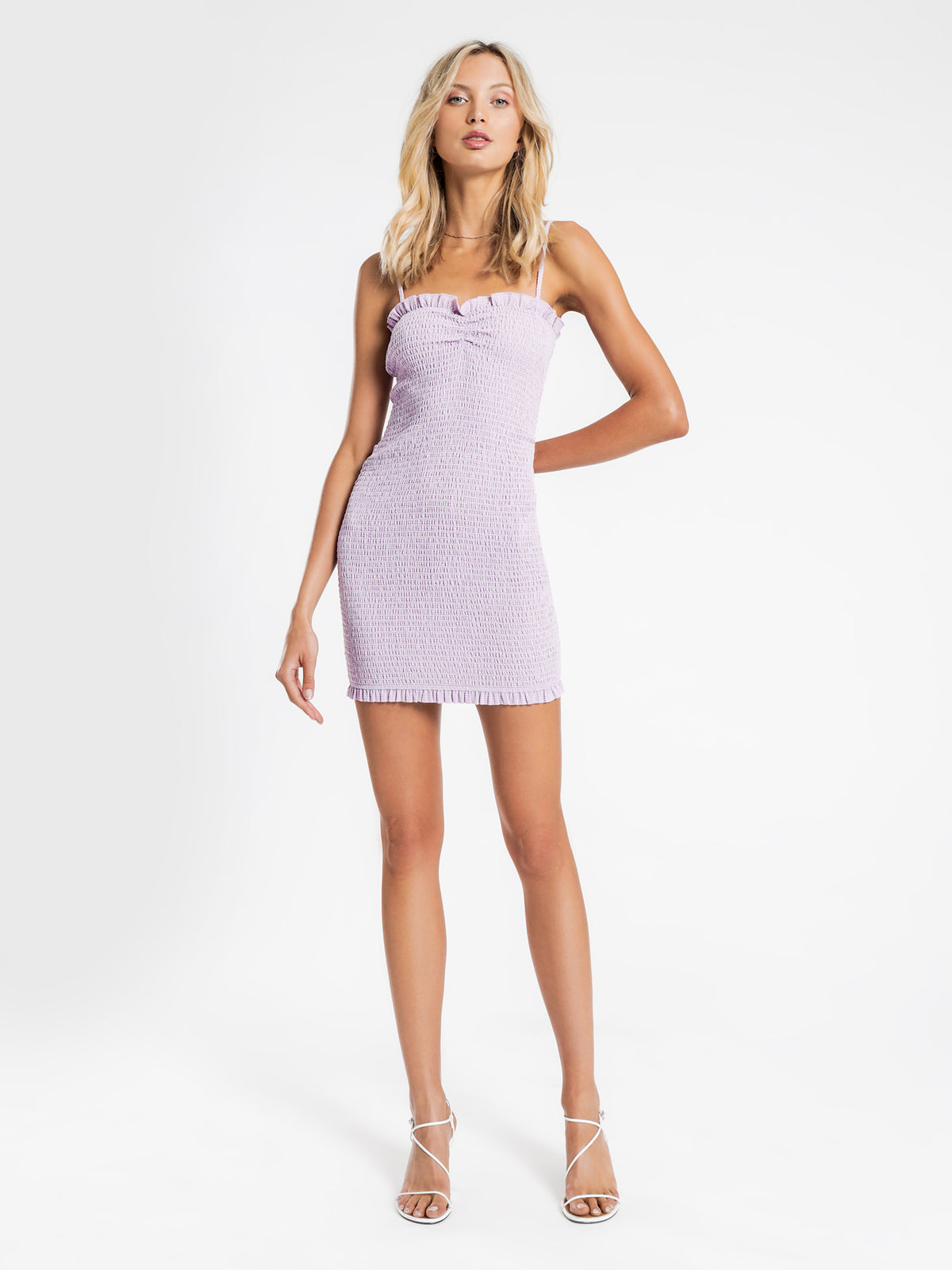 Dion Shirred Mini Dress in Lilac