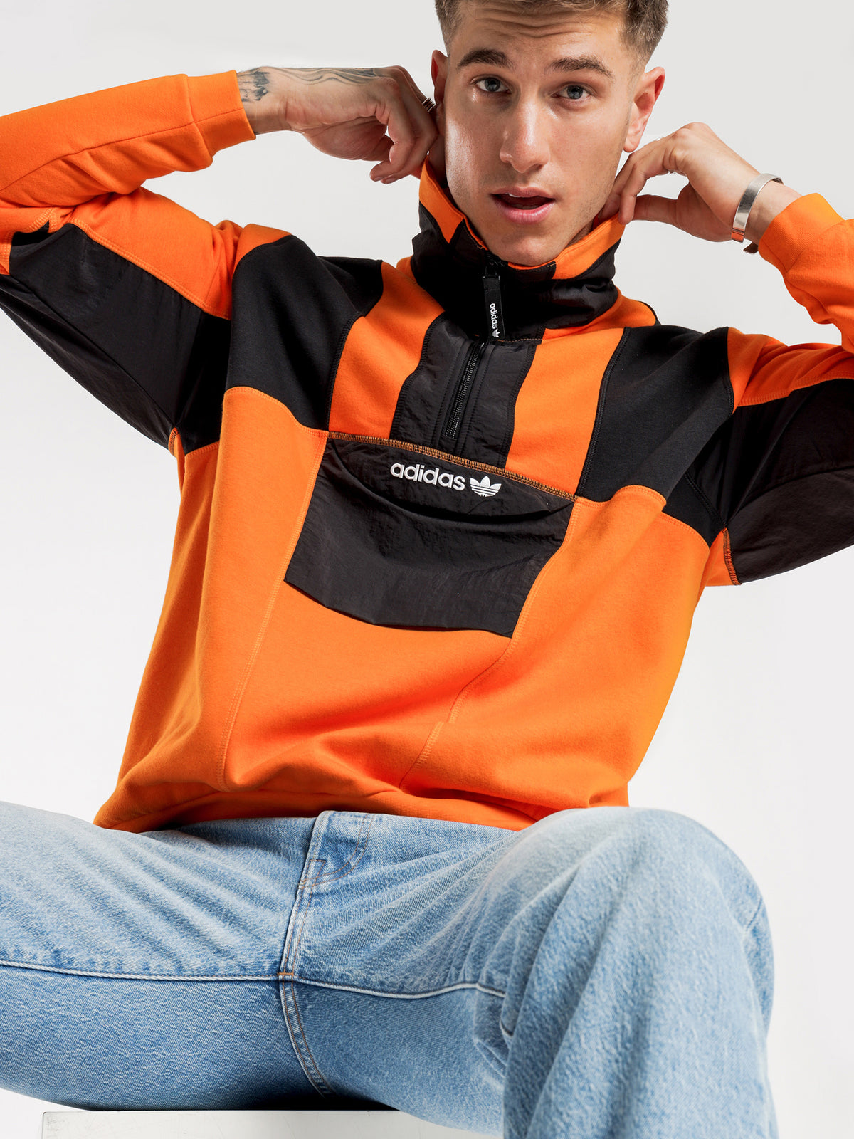 Adventure Field 1/2 Zip Jumper in Orange