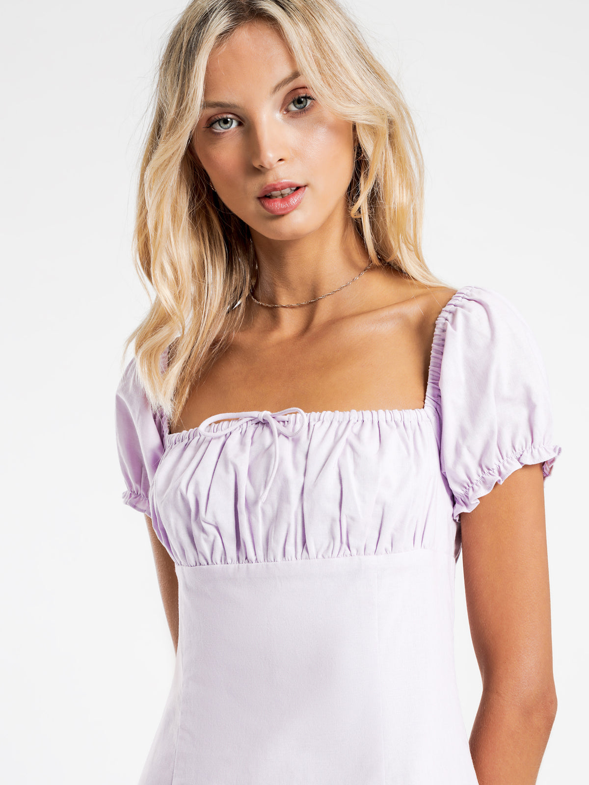 Rae Linen Mini Dress in Lilac