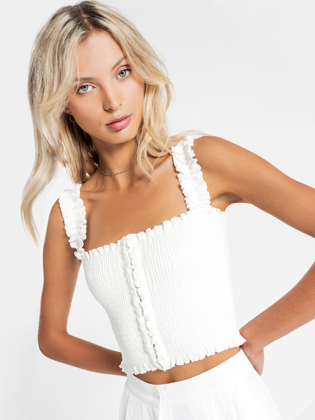 Misha Shirred Top in White