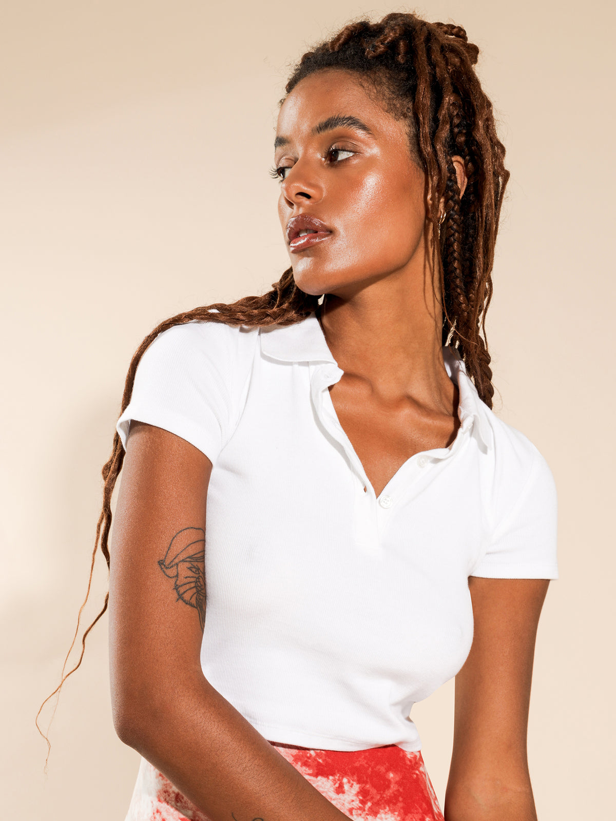 Lara Rib Polo T-Shirt in White
