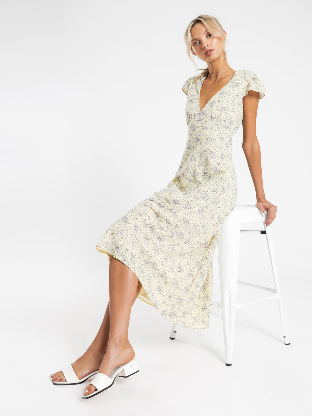 Annika Midi Dress in Ditsy Floral