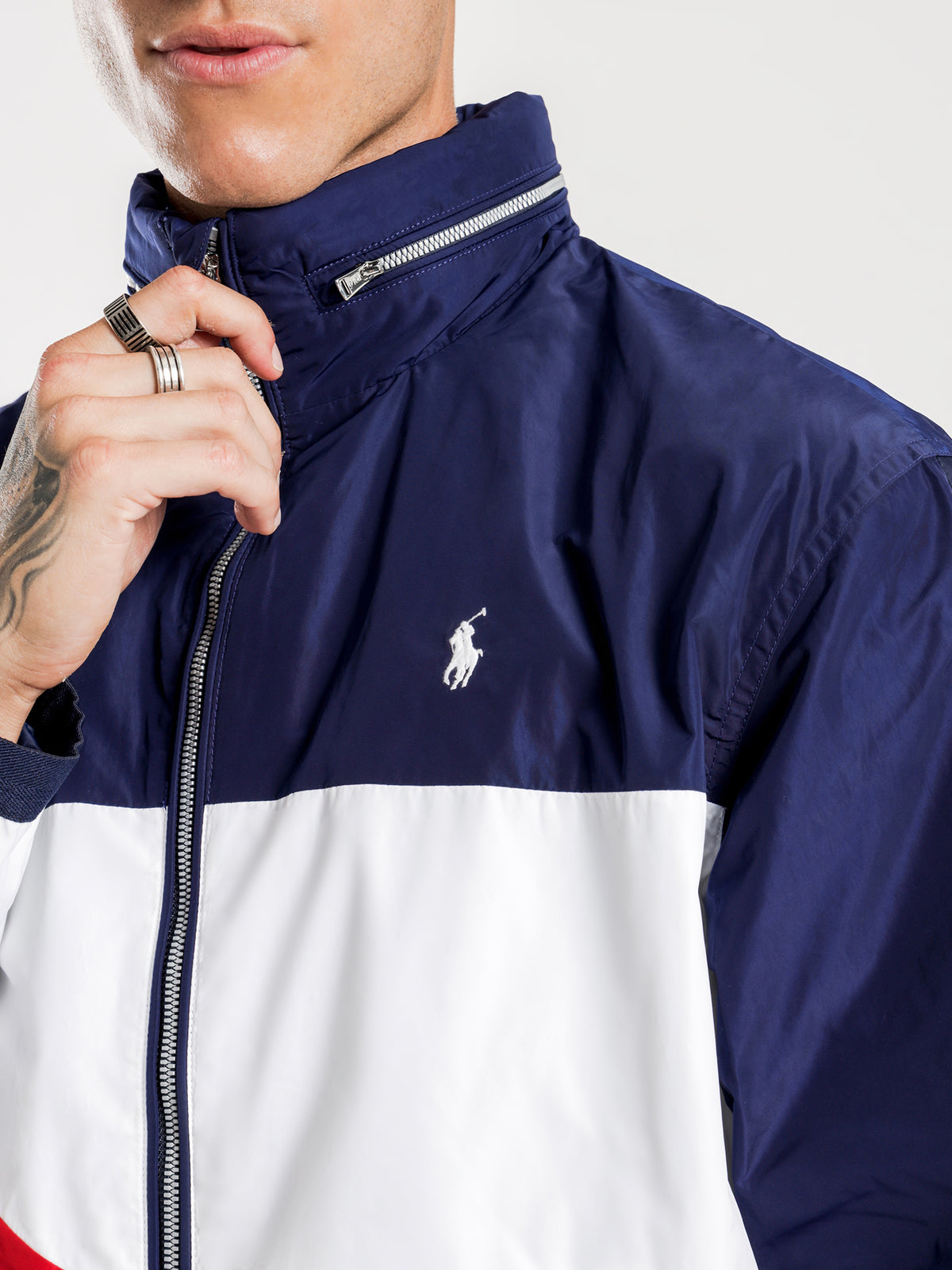 Tricolour Flag Zip Through Windbreaker Jacket in White