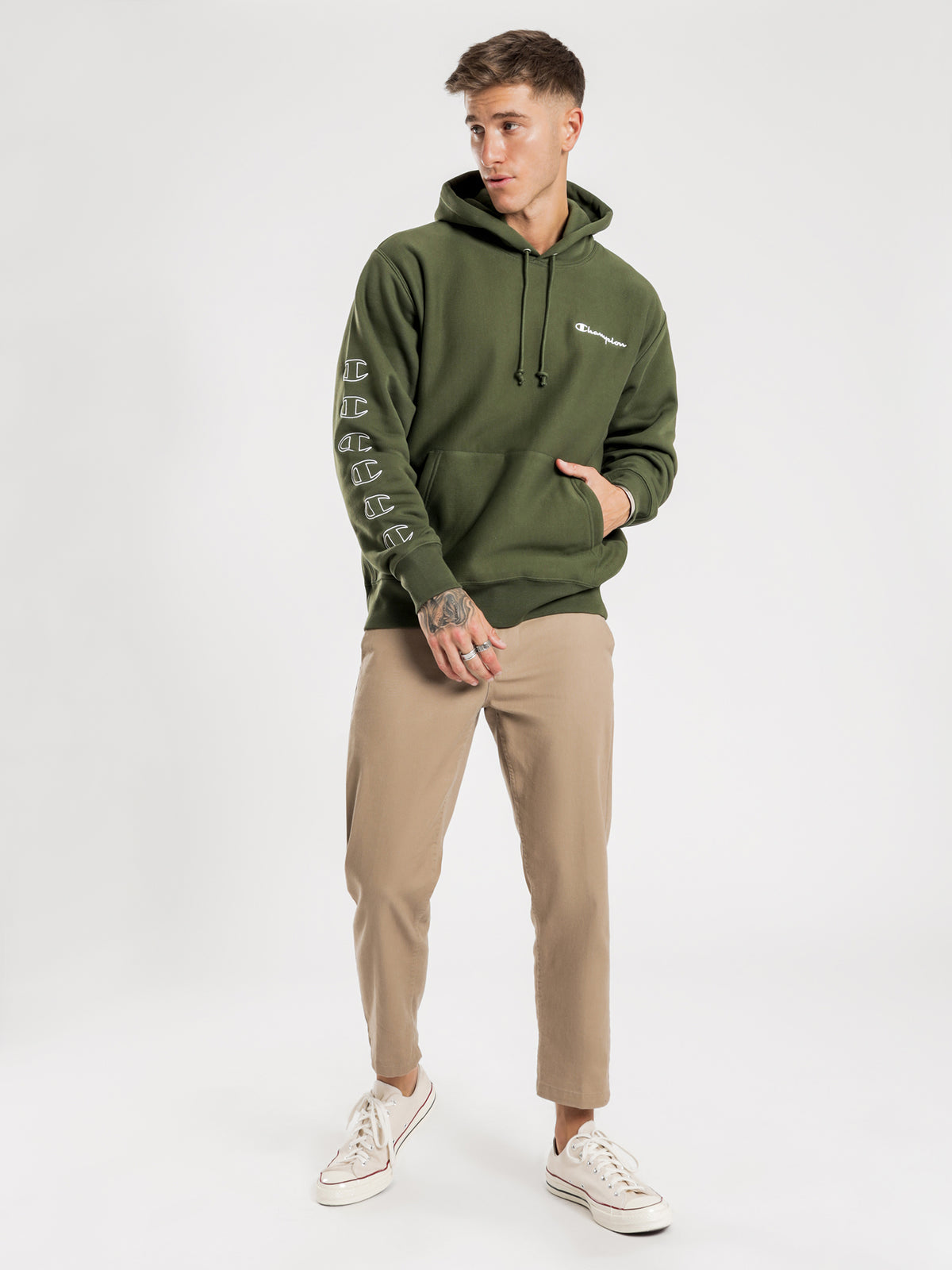 Reverse Weave Graphic Hoodie in Green