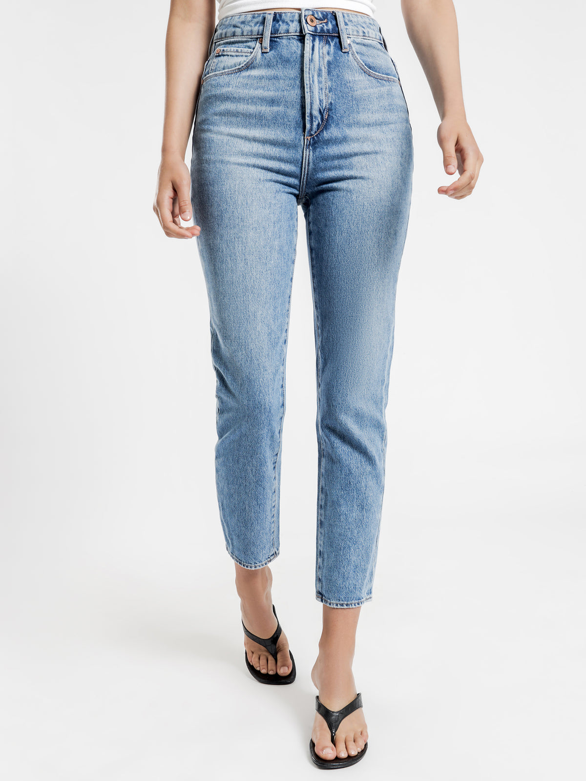 Amy High Mom Slim Jeans in Mid Authentic Blue Denim