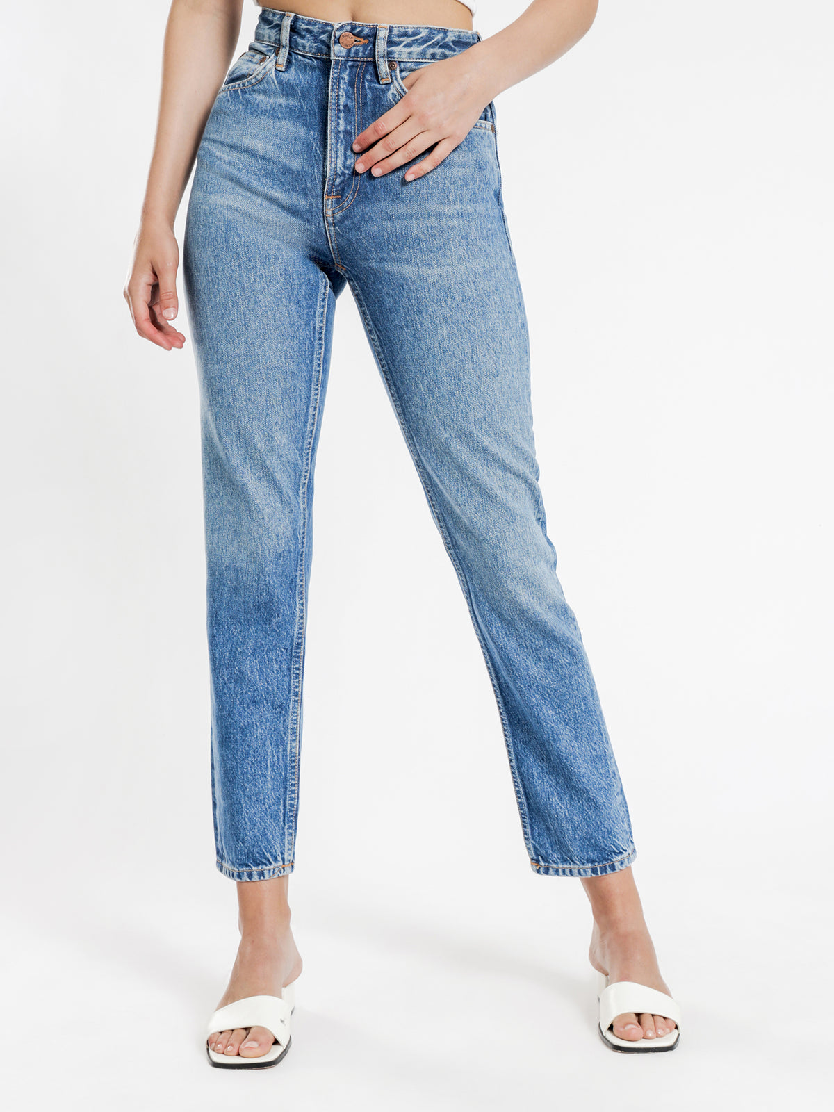 Breezy Britt Mom Jeans in Orange Skin Blue Denim