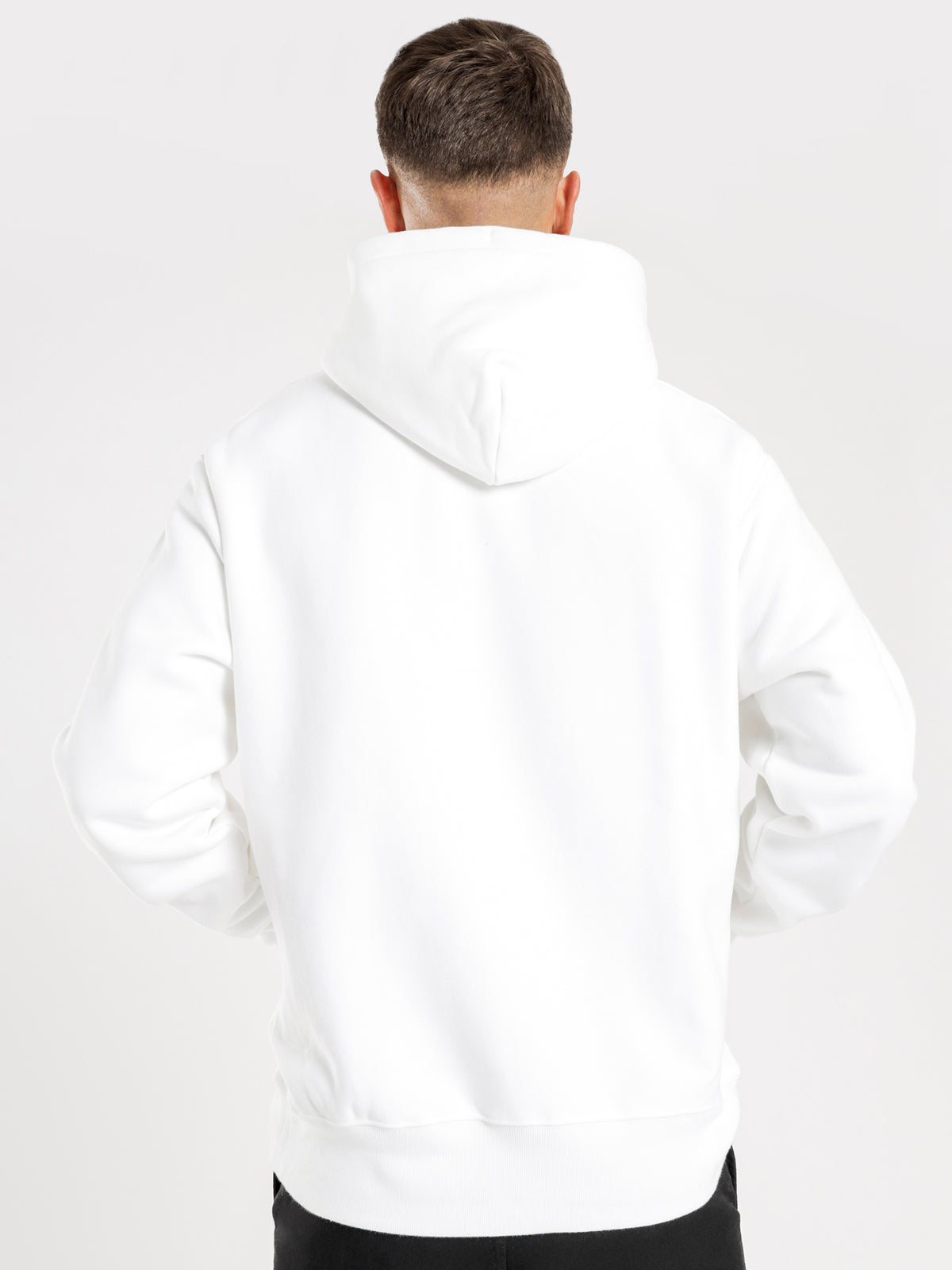 Reverse Weave Graphic Hoodie in White