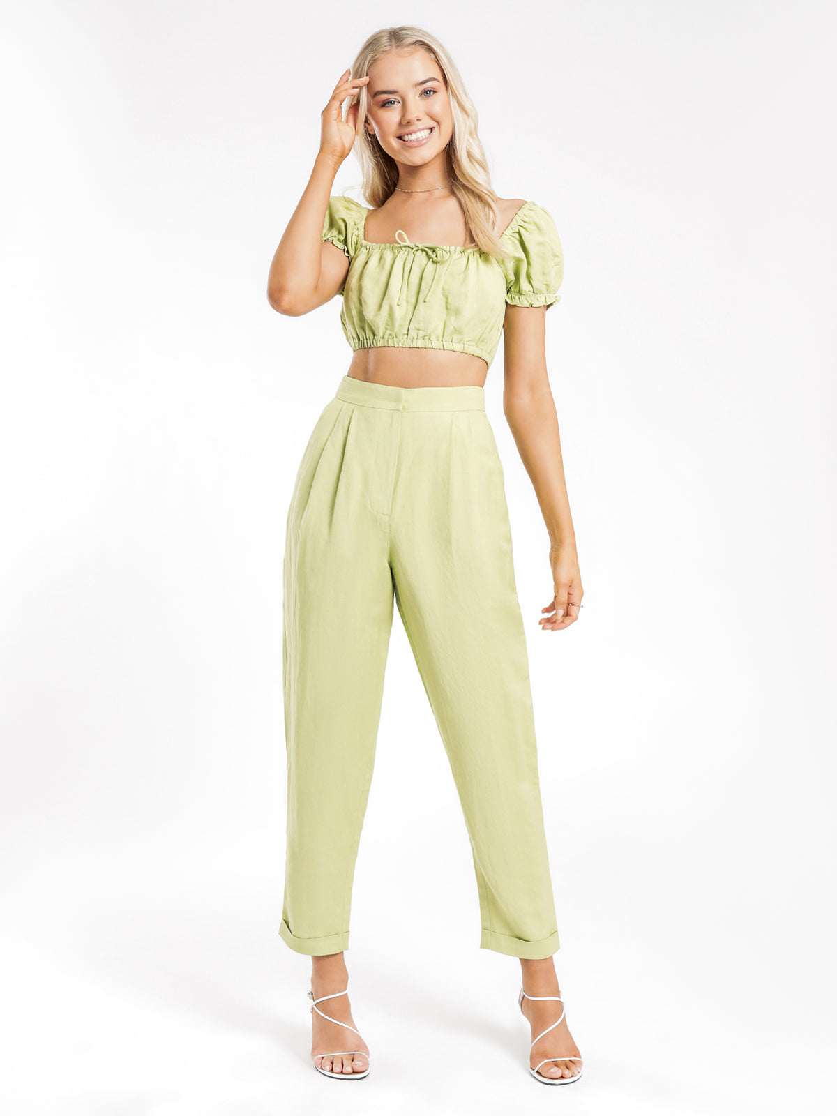 Solange Linen Pants in Pear