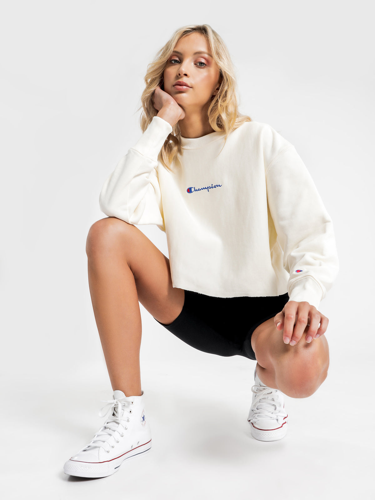 Reverse Weave Script Cropped Crew in Chalk White