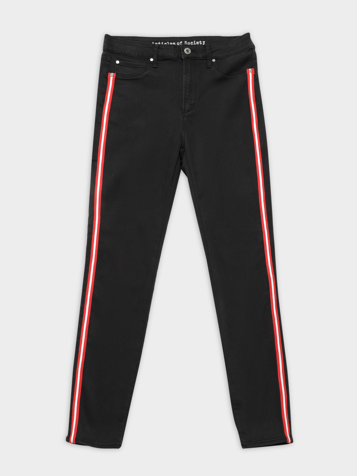 High Cisco Super Skinny Jeans in Black & Red