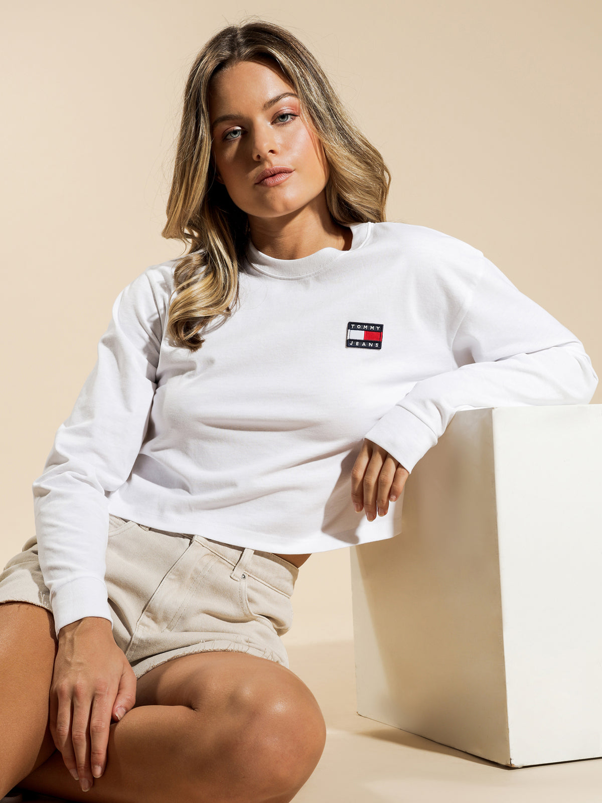 Badge Long Sleeve T-Shirt in White